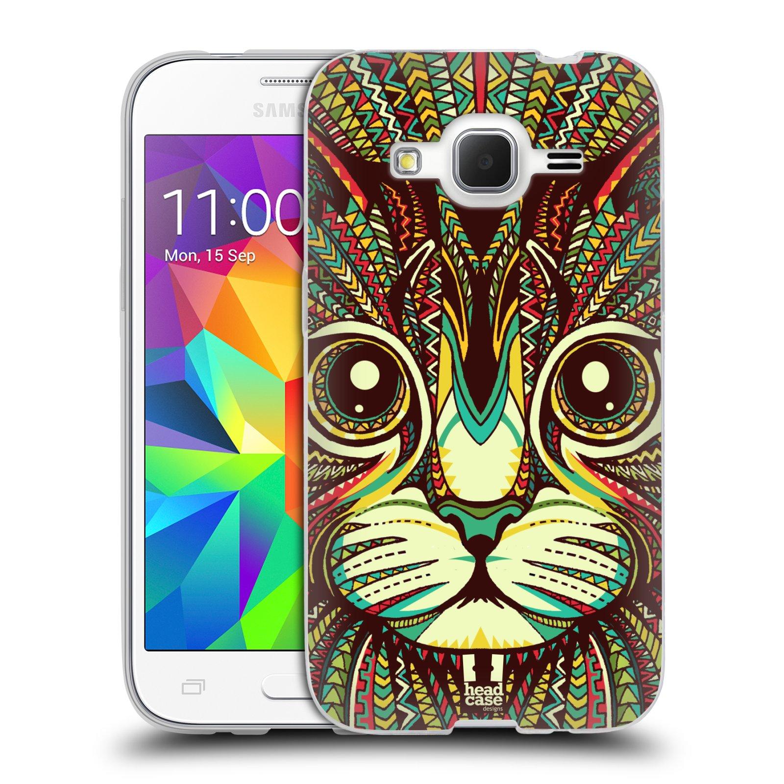 Silikonové pouzdro na mobil Samsung Galaxy Core Prime LTE HEAD CASE AZTEC KOČKA (Silikonový kryt či obal na mobilní telefon Samsung Galaxy Core Prime LTE SM-G360)