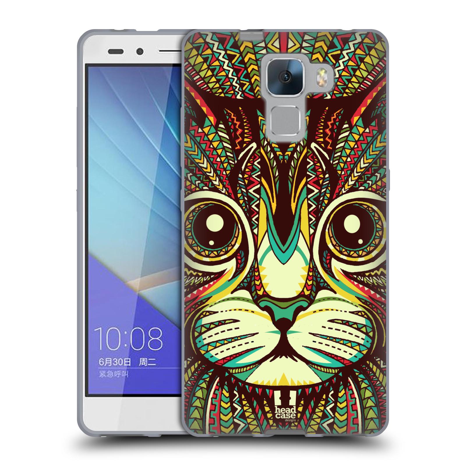 Silikonové pouzdro na mobil Honor 7 HEAD CASE AZTEC KOČKA