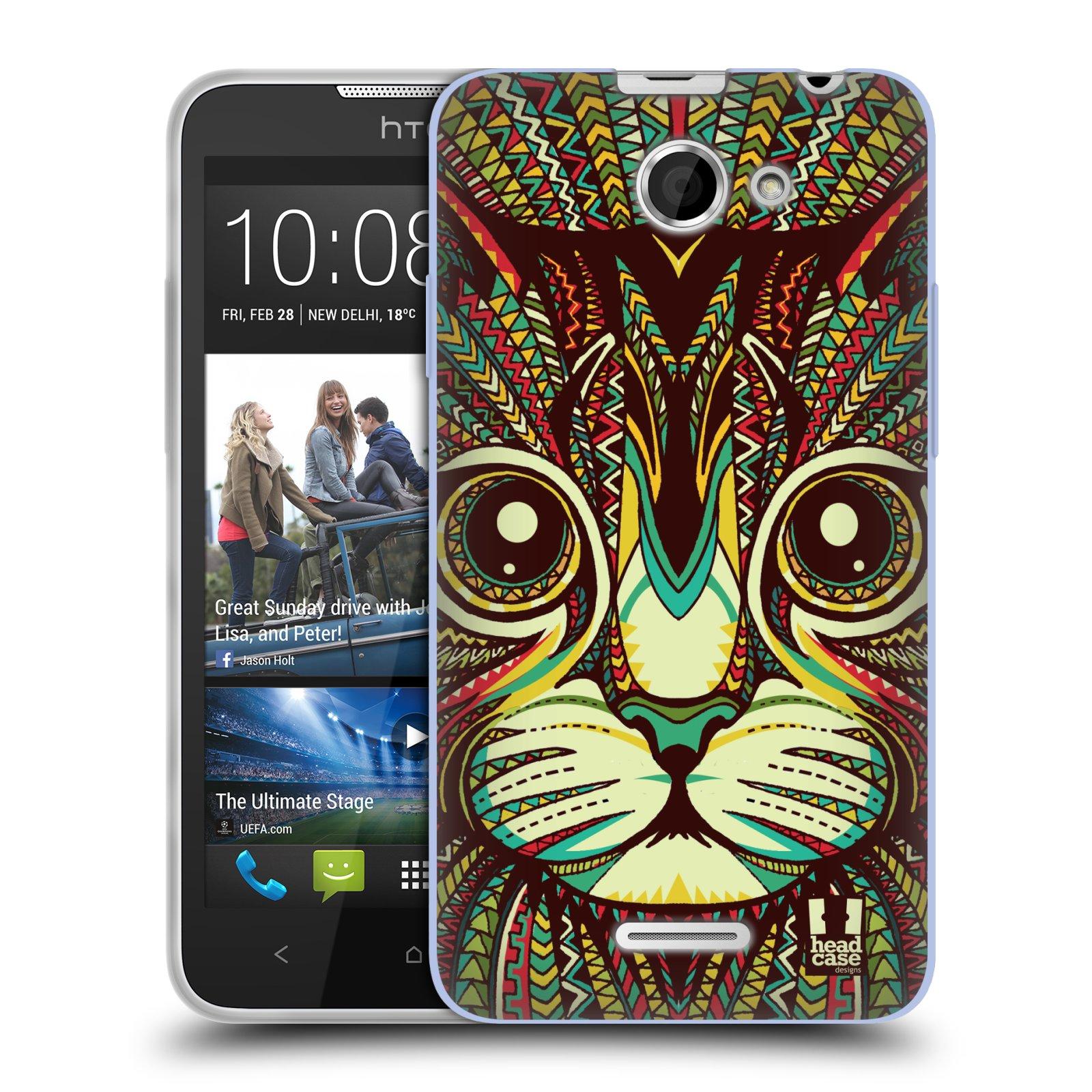 Silikonové pouzdro na mobil HTC Desire 516 HEAD CASE AZTEC KOČKA (Silikonový kryt či obal na mobilní telefon HTC Desire 516 Dual SIM)