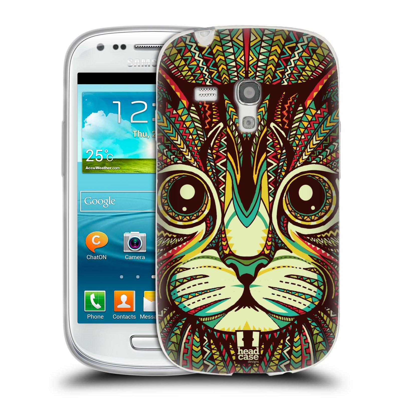 Silikonové pouzdro na mobil Samsung Galaxy S III Mini HEAD CASE AZTEC KOČKA (Silikonový kryt či obal na mobilní telefon Samsung Galaxy S III Mini GT-i8190)