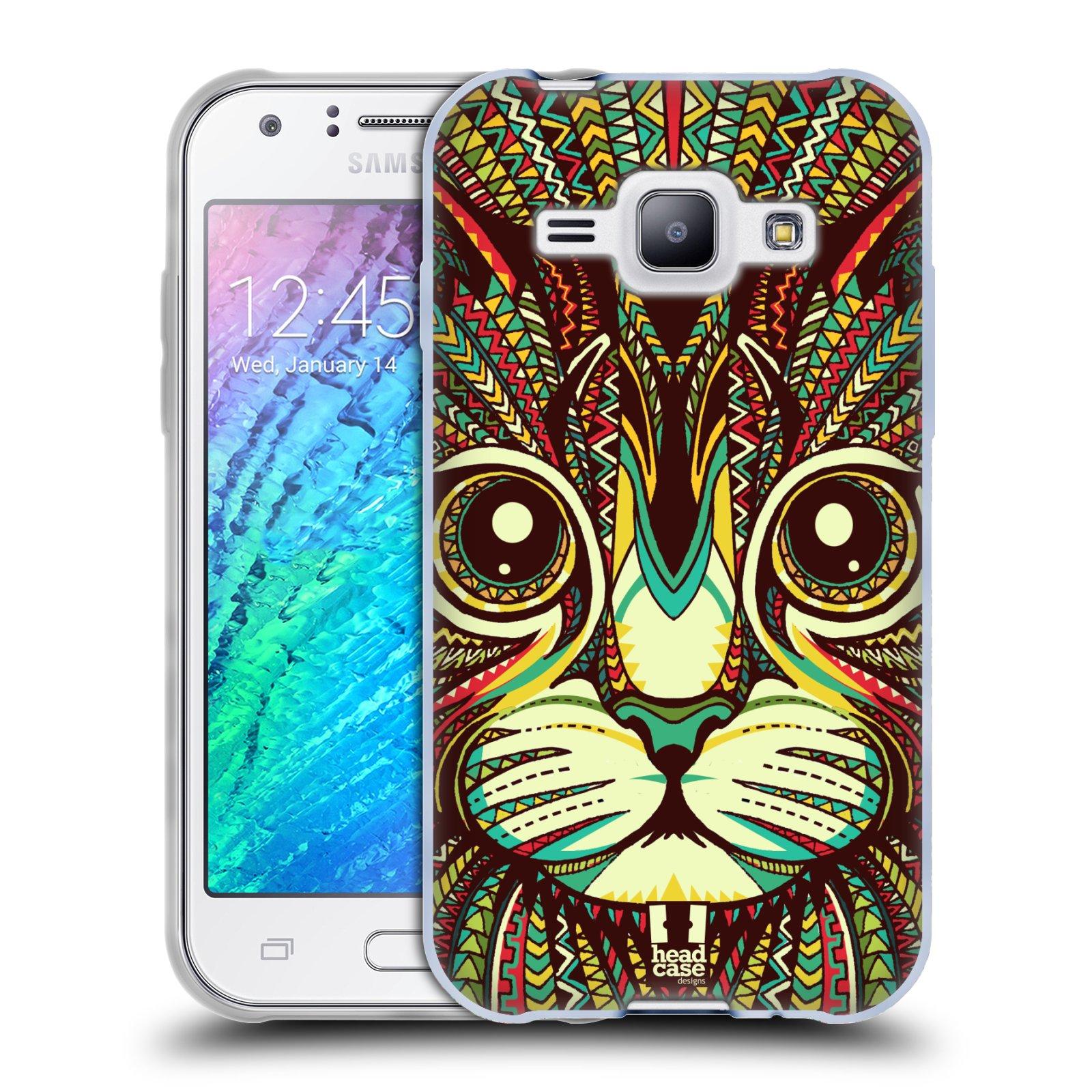Silikonové pouzdro na mobil Samsung Galaxy J1 HEAD CASE AZTEC KOČKA (Silikonový kryt či obal na mobilní telefon Samsung Galaxy J1 a J1 Duos)