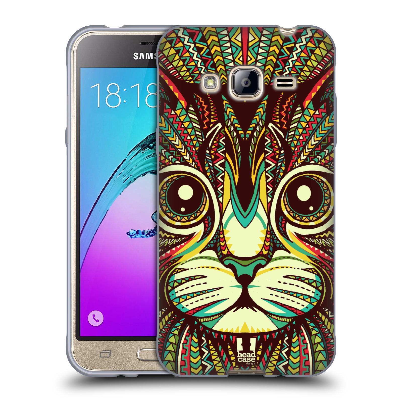 Silikonové pouzdro na mobil Samsung Galaxy J3 (2016) HEAD CASE AZTEC KOČKA