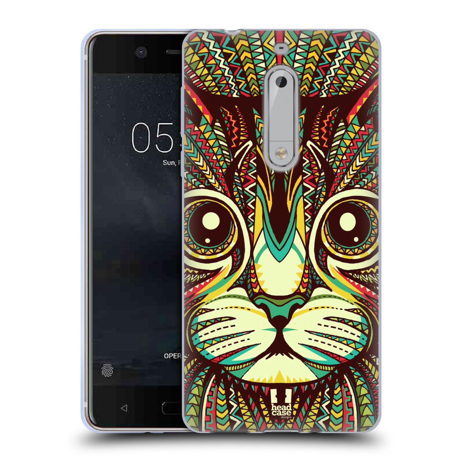 Silikonové pouzdro na mobil Nokia 5 Head Case - AZTEC KOČKA