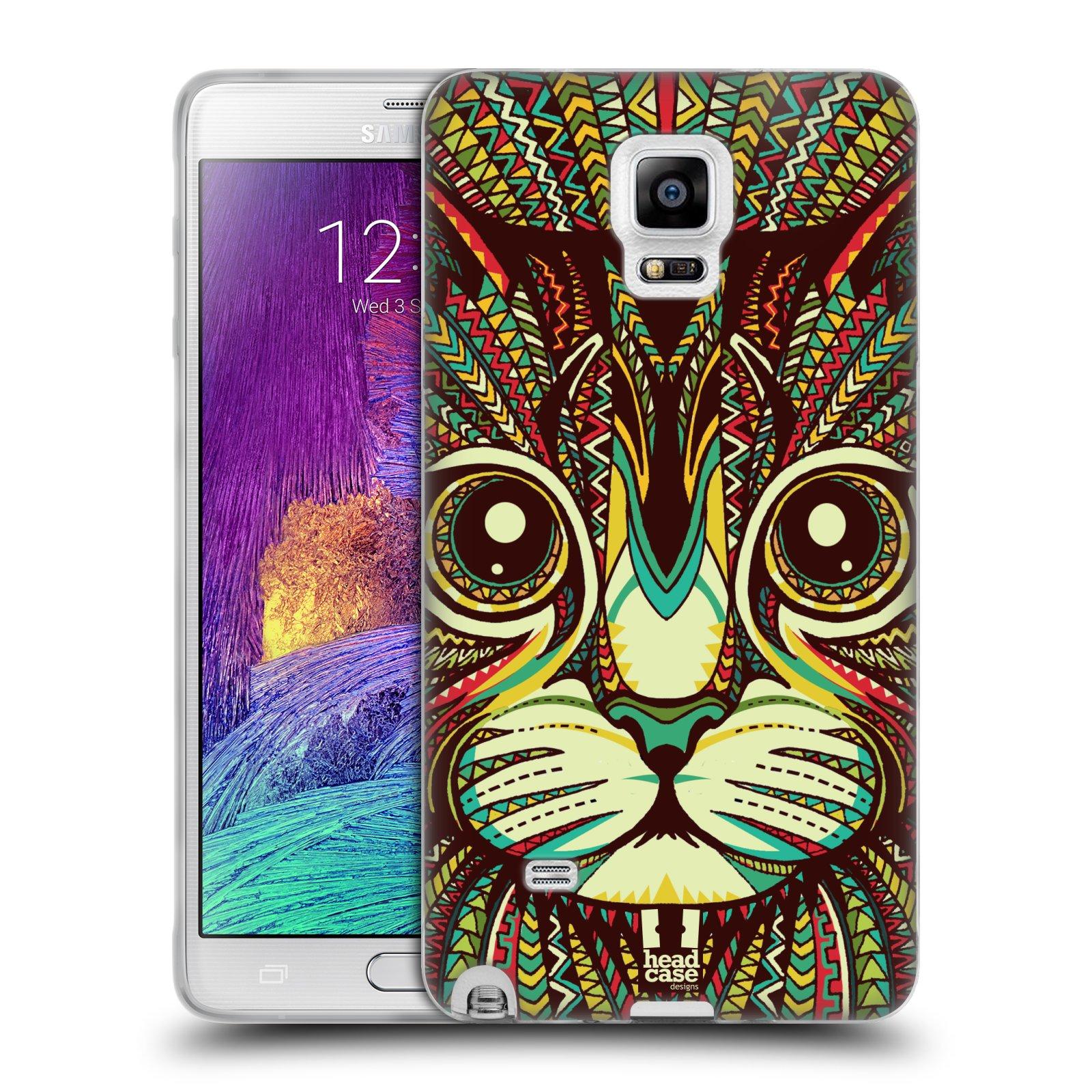 Silikonové pouzdro na mobil Samsung Galaxy Note 4 HEAD CASE AZTEC KOČKA (Silikonový kryt či obal na mobilní telefon Samsung Galaxy Note 4 SM-N910F)