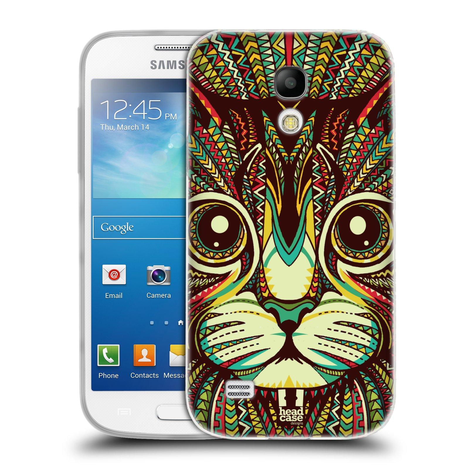 Silikonové pouzdro na mobil Samsung Galaxy S4 Mini HEAD CASE AZTEC KOČKA