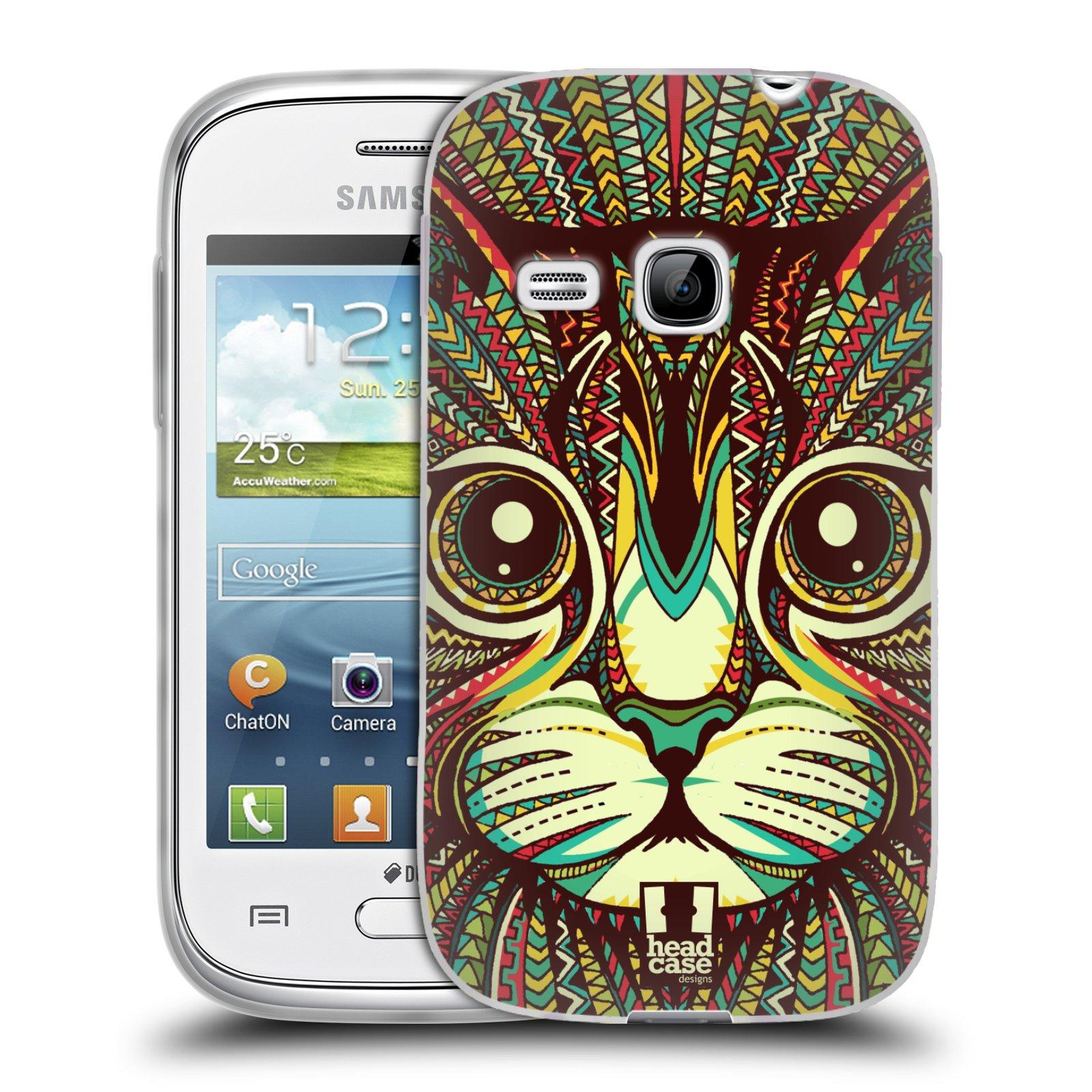 Silikonové pouzdro na mobil Samsung Galaxy Young HEAD CASE AZTEC KOČKA (Silikonový kryt či obal na mobilní telefon Samsung Galaxy Young GT-S6310)