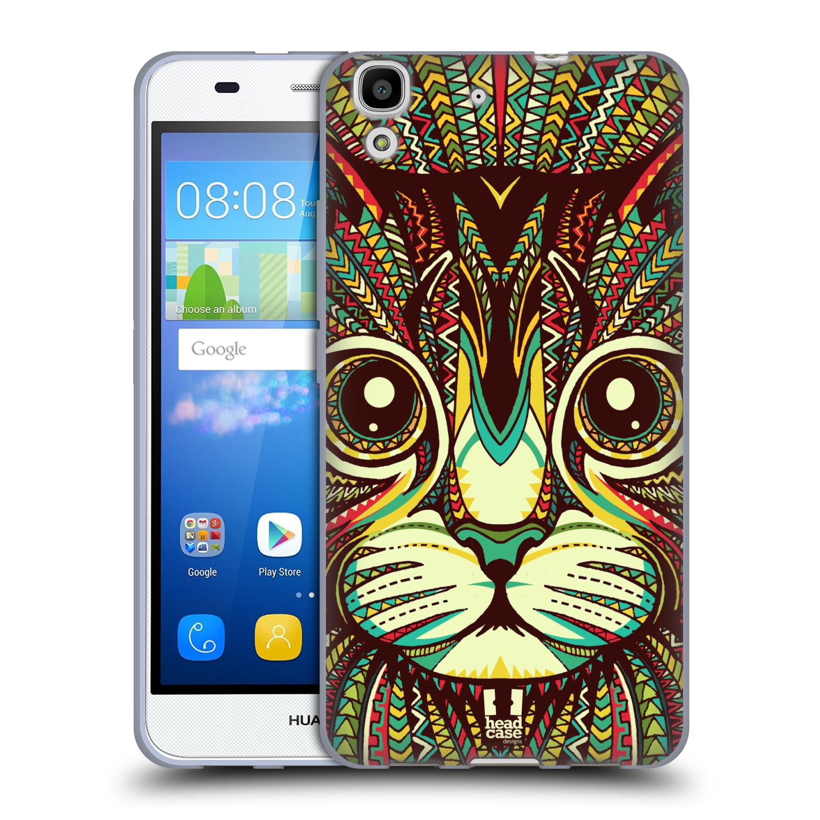 Silikonové pouzdro na mobil Huawei Y6 HEAD CASE AZTEC KOČKA