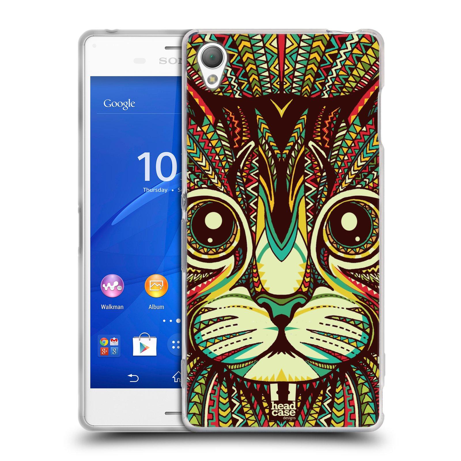 Silikonové pouzdro na mobil Sony Xperia Z3 D6603 HEAD CASE AZTEC KOČKA
