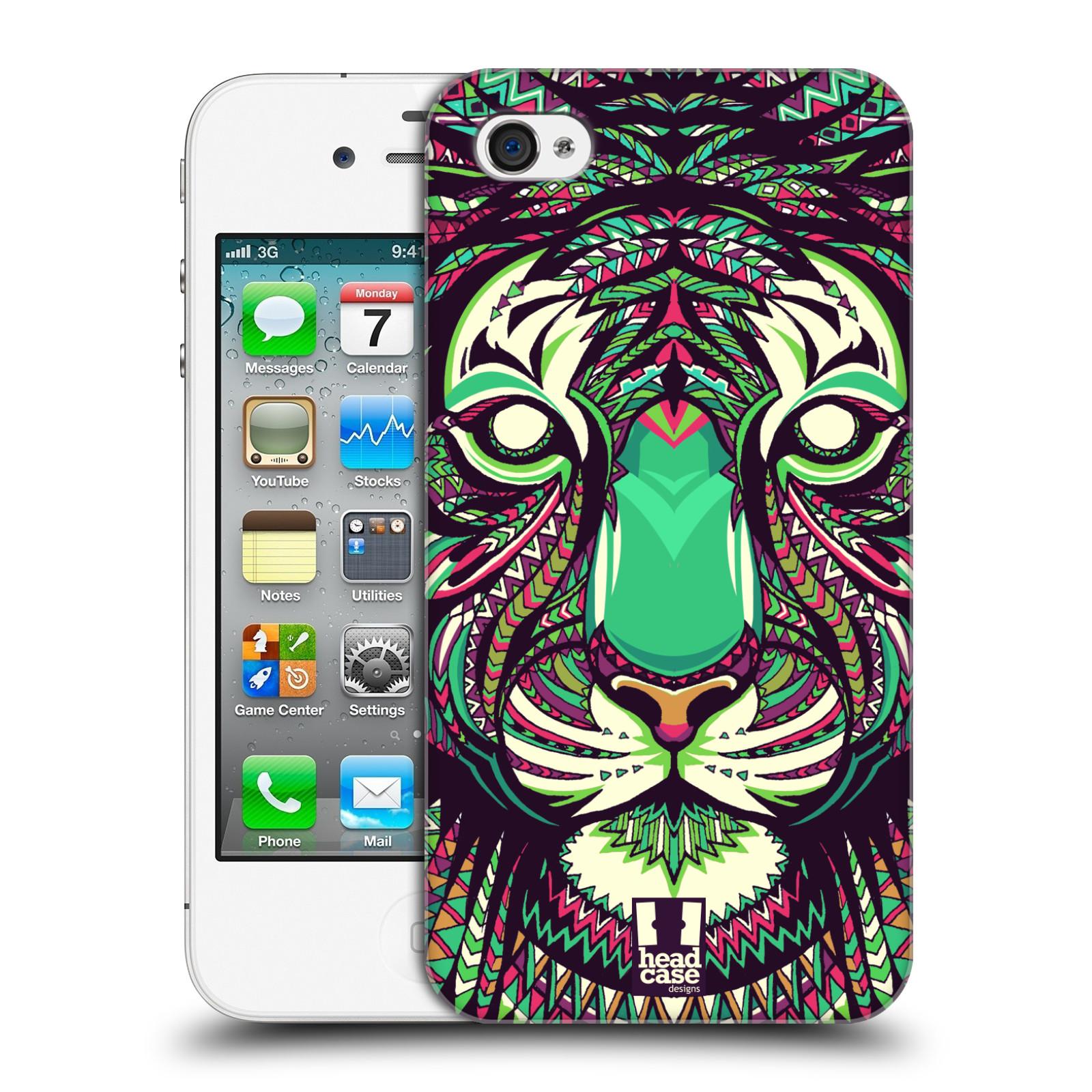 Plastové pouzdro na mobil Apple iPhone 4 a 4S HEAD CASE AZTEC TYGR