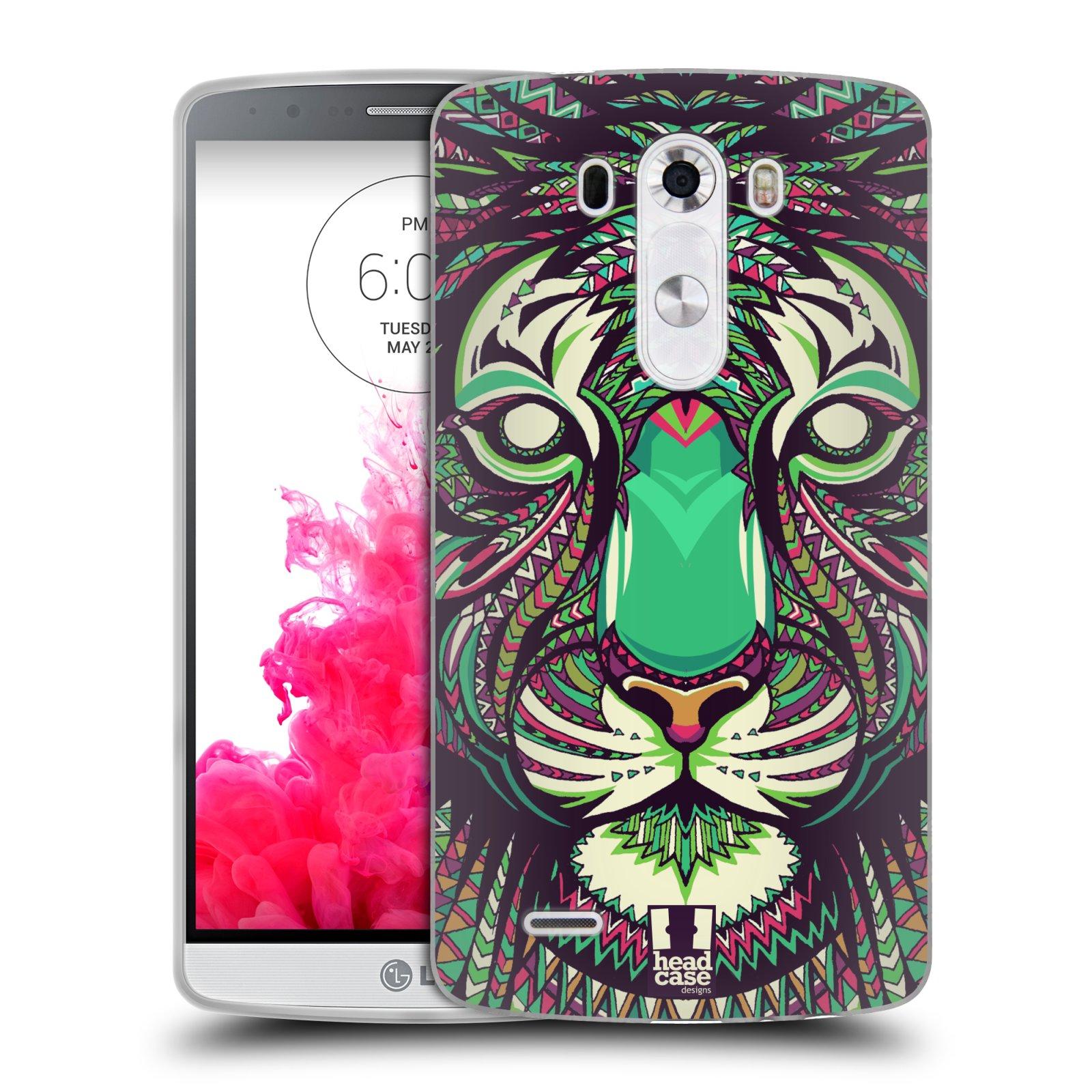 Silikonové pouzdro na mobil LG G3 HEAD CASE AZTEC TYGR (Silikonový kryt či obal na mobilní telefon LG G3 D855)