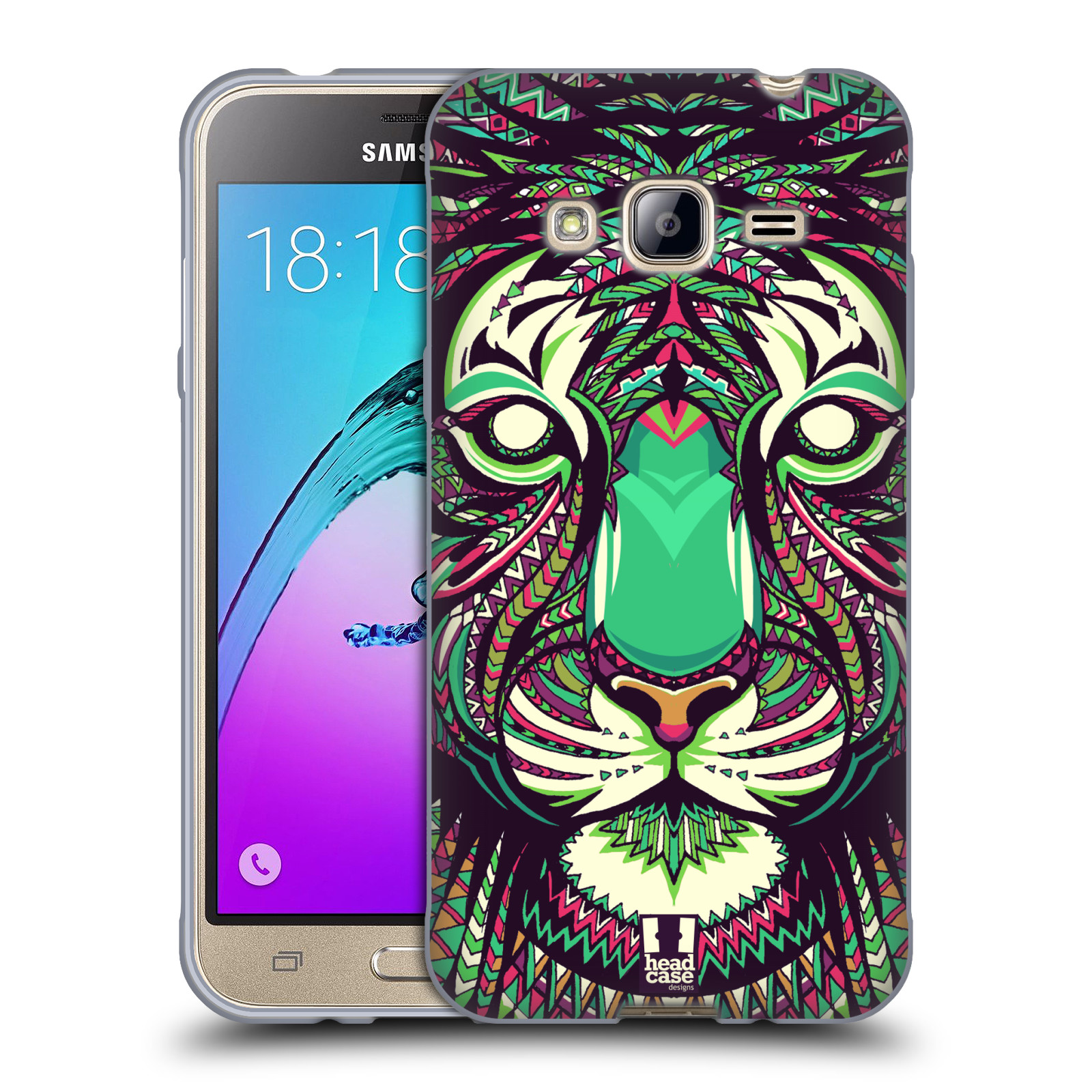 Silikonové pouzdro na mobil Samsung Galaxy J3 (2016) HEAD CASE AZTEC TYGR