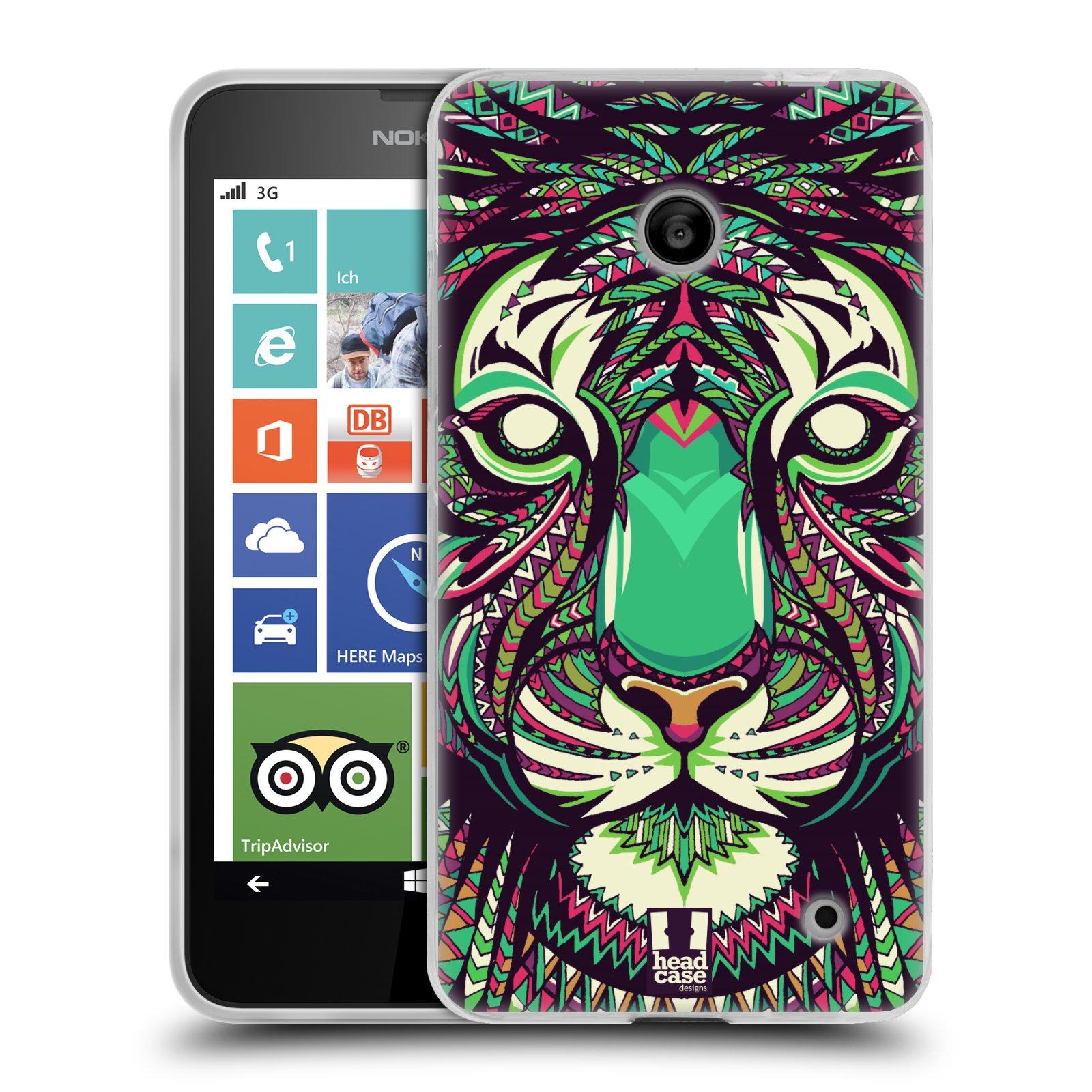 Silikonové pouzdro na mobil Nokia Lumia 630 HEAD CASE AZTEC TYGR (Silikonový kryt či obal na mobilní telefon Nokia Lumia 630 a Nokia Lumia 630 Dual SIM)
