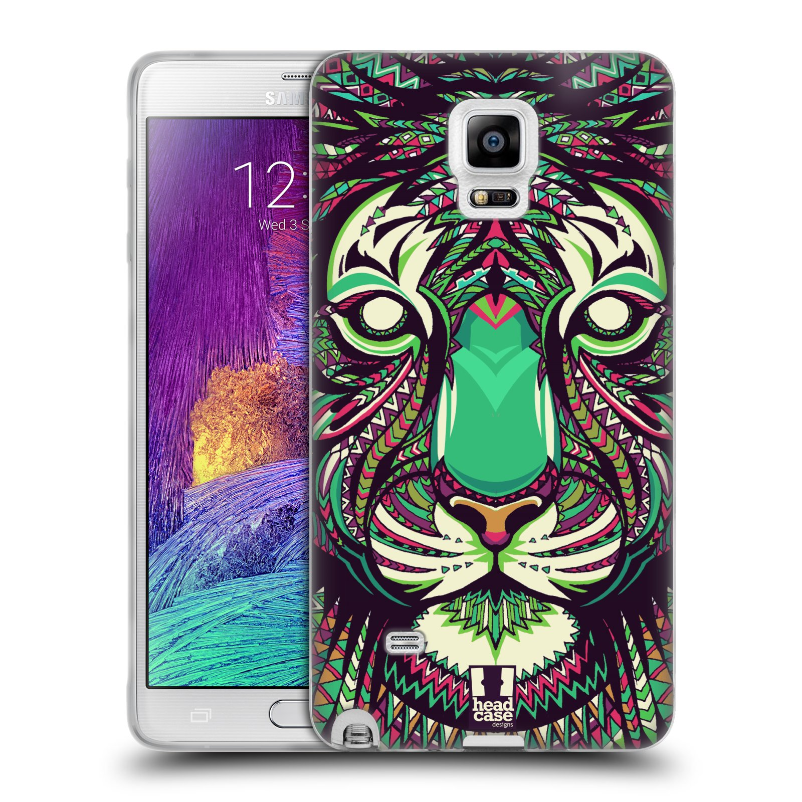 Silikonové pouzdro na mobil Samsung Galaxy Note 4 HEAD CASE AZTEC TYGR (Silikonový kryt či obal na mobilní telefon Samsung Galaxy Note 4 SM-N910F)