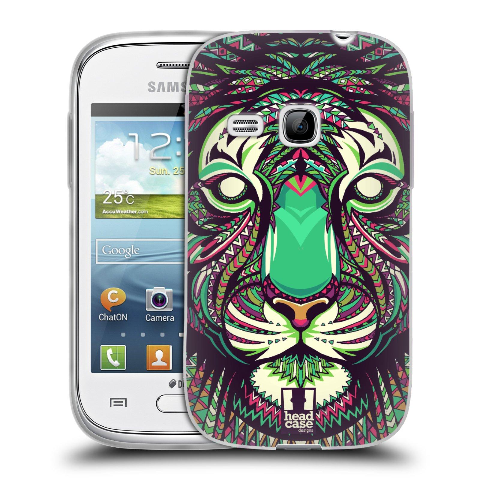 Silikonové pouzdro na mobil Samsung Galaxy Young HEAD CASE AZTEC TYGR (Silikonový kryt či obal na mobilní telefon Samsung Galaxy Young GT-S6310)