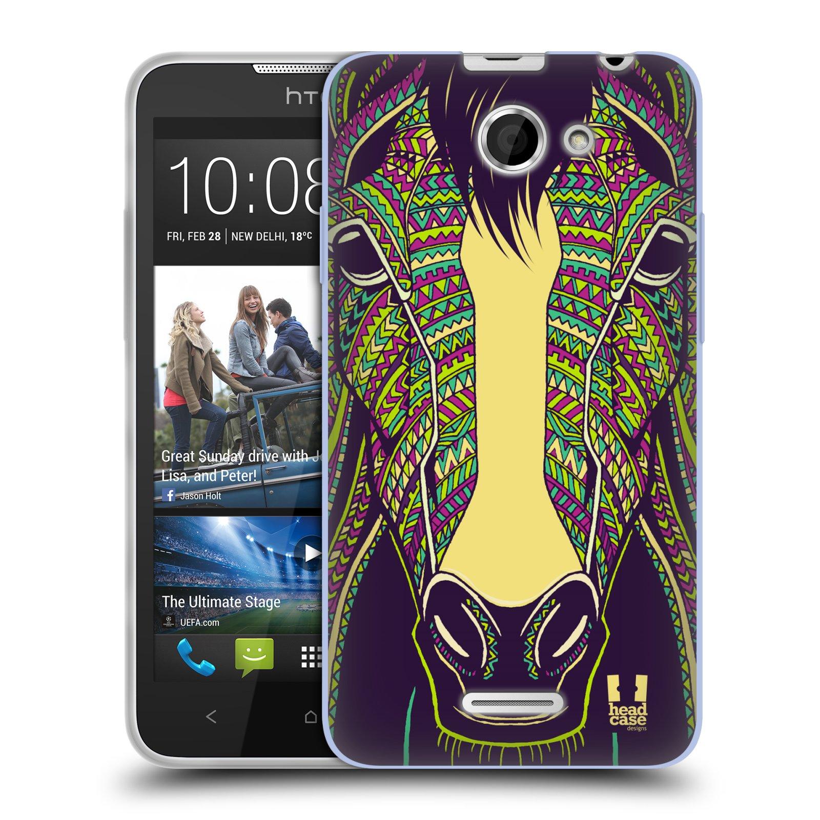Silikonové pouzdro na mobil HTC Desire 516 HEAD CASE AZTEC KŮŇ (Silikonový kryt či obal na mobilní telefon HTC Desire 516 Dual SIM)
