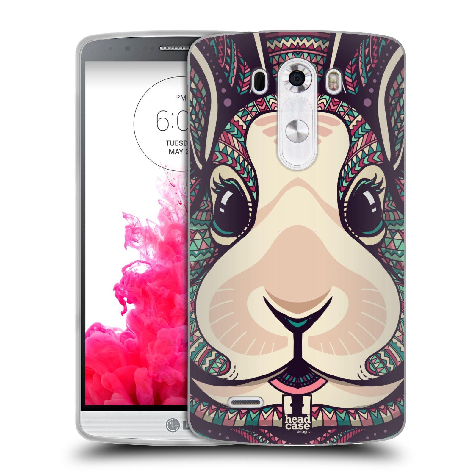 Silikonové pouzdro na mobil LG G3 HEAD CASE AZTEC ZAJÍČEK (Silikonový kryt či obal na mobilní telefon LG G3 D855)