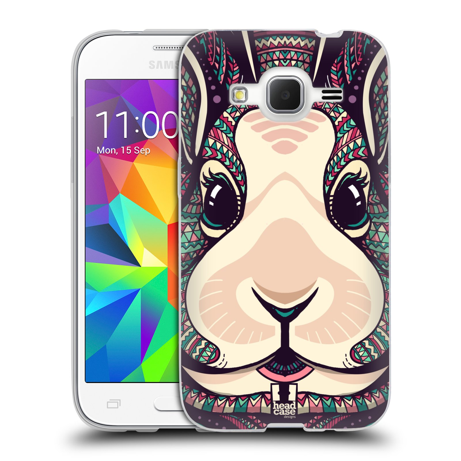 Silikonové pouzdro na mobil Samsung Galaxy Core Prime LTE HEAD CASE AZTEC ZAJÍČEK