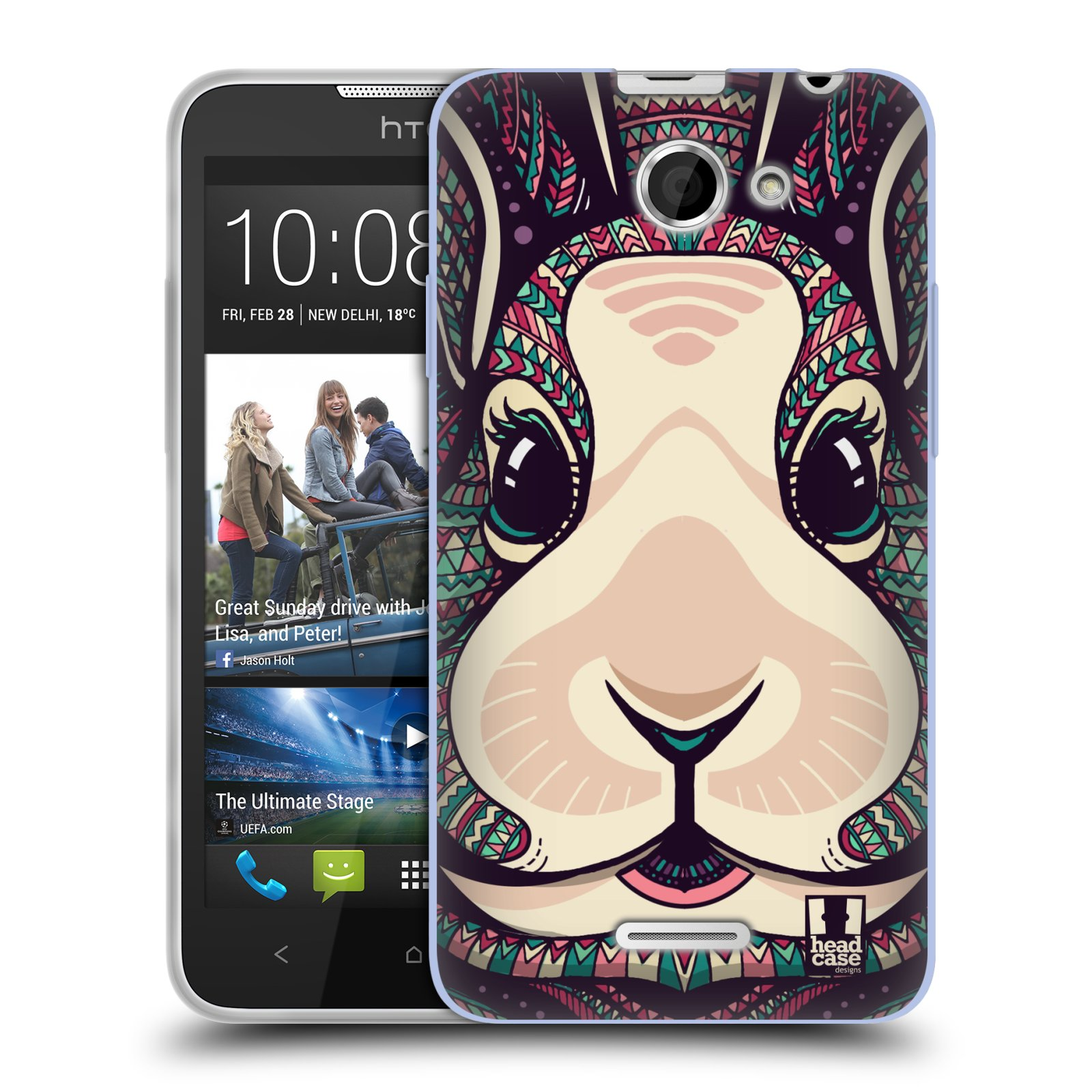Silikonové pouzdro na mobil HTC Desire 516 HEAD CASE AZTEC ZAJÍČEK (Silikonový kryt či obal na mobilní telefon HTC Desire 516 Dual SIM)