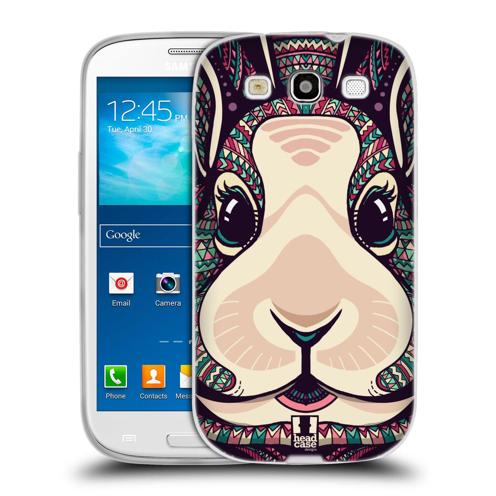 Silikonové pouzdro na mobil Samsung Galaxy S3 Neo HEAD CASE AZTEC ZAJÍČEK (Silikonový kryt či obal na mobilní telefon Samsung Galaxy S3 Neo GT-i9301i)