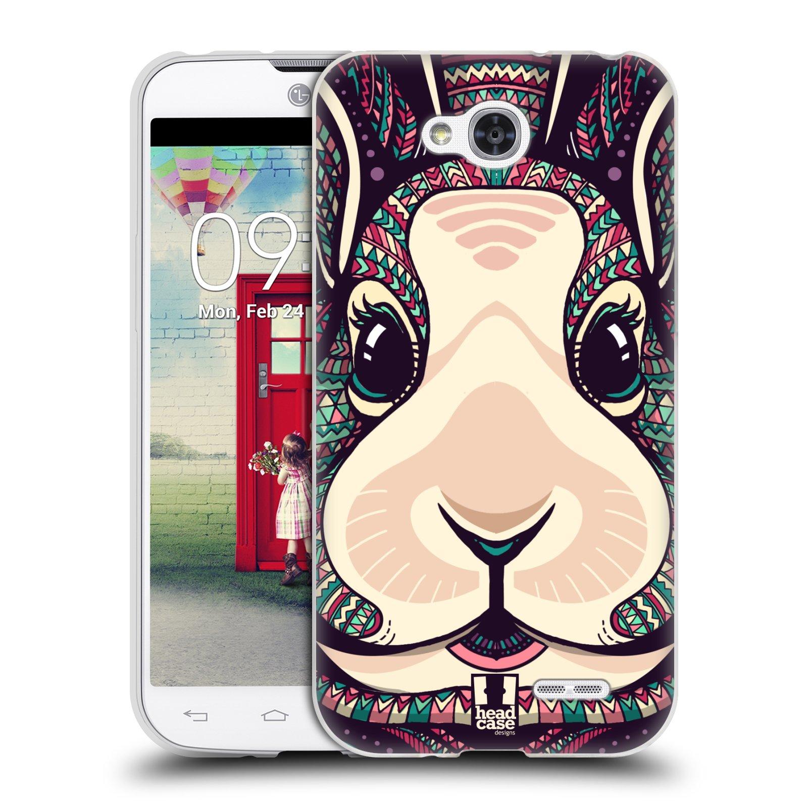 Silikonové pouzdro na mobil LG L90 HEAD CASE AZTEC ZAJÍČEK (Silikonový kryt či obal na mobilní telefon LG L90 D405n)