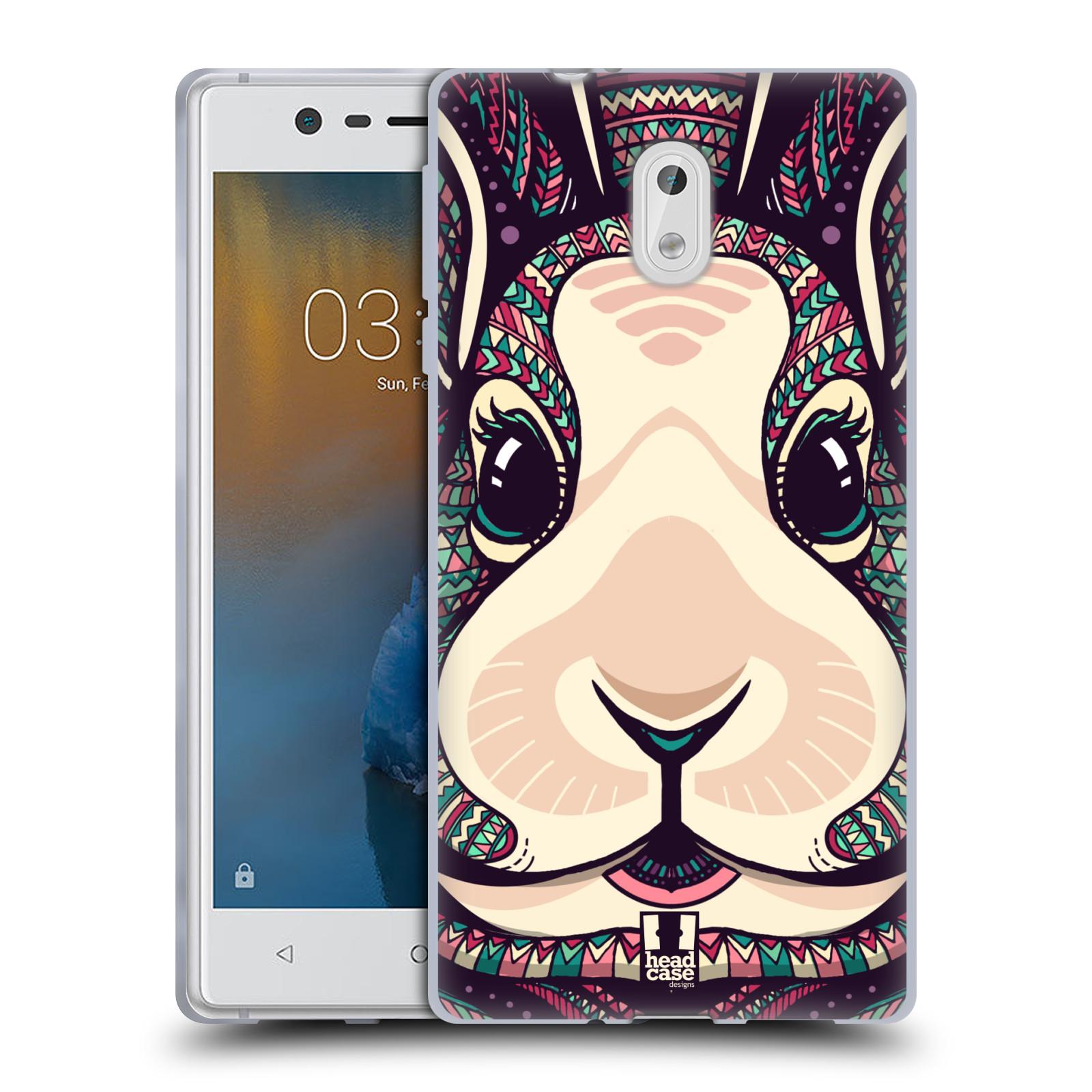 Silikonové pouzdro na mobil Nokia 3 Head Case - AZTEC ZAJÍČEK