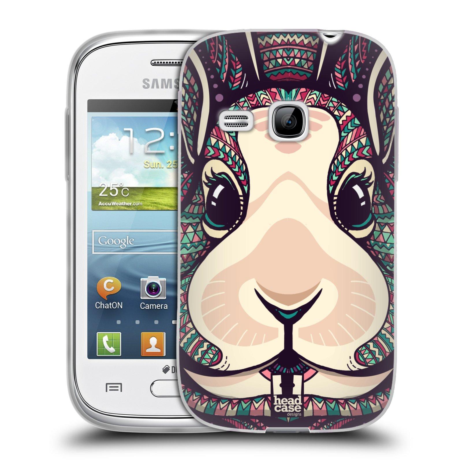 Silikonové pouzdro na mobil Samsung Galaxy Young HEAD CASE AZTEC ZAJÍČEK (Silikonový kryt či obal na mobilní telefon Samsung Galaxy Young GT-S6310)