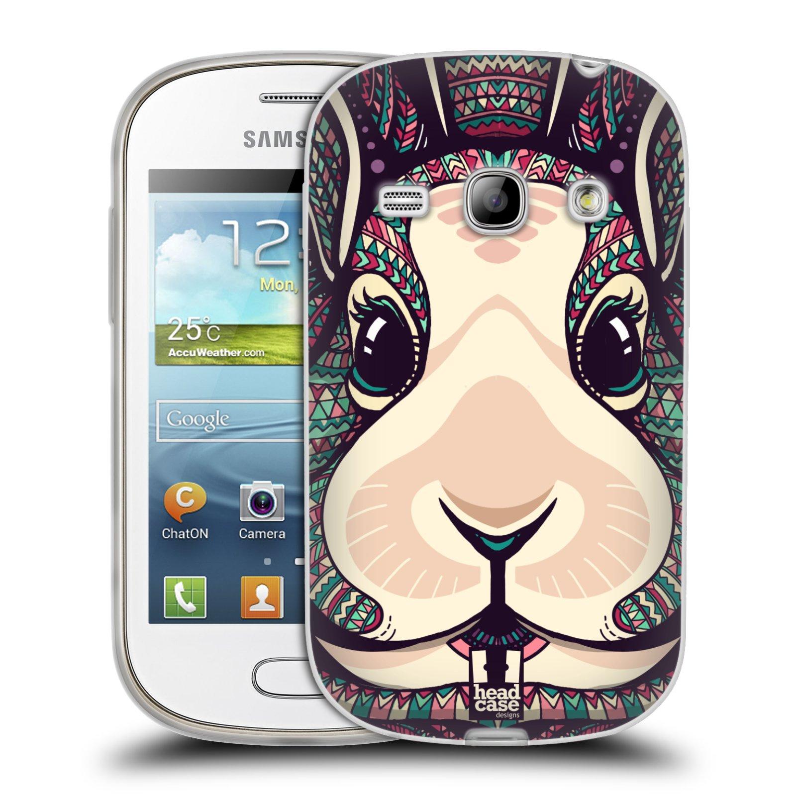 Silikonové pouzdro na mobil Samsung Galaxy Fame HEAD CASE AZTEC ZAJÍČEK (Silikonový kryt či obal na mobilní telefon Samsung Galaxy Fame GT-S6810)