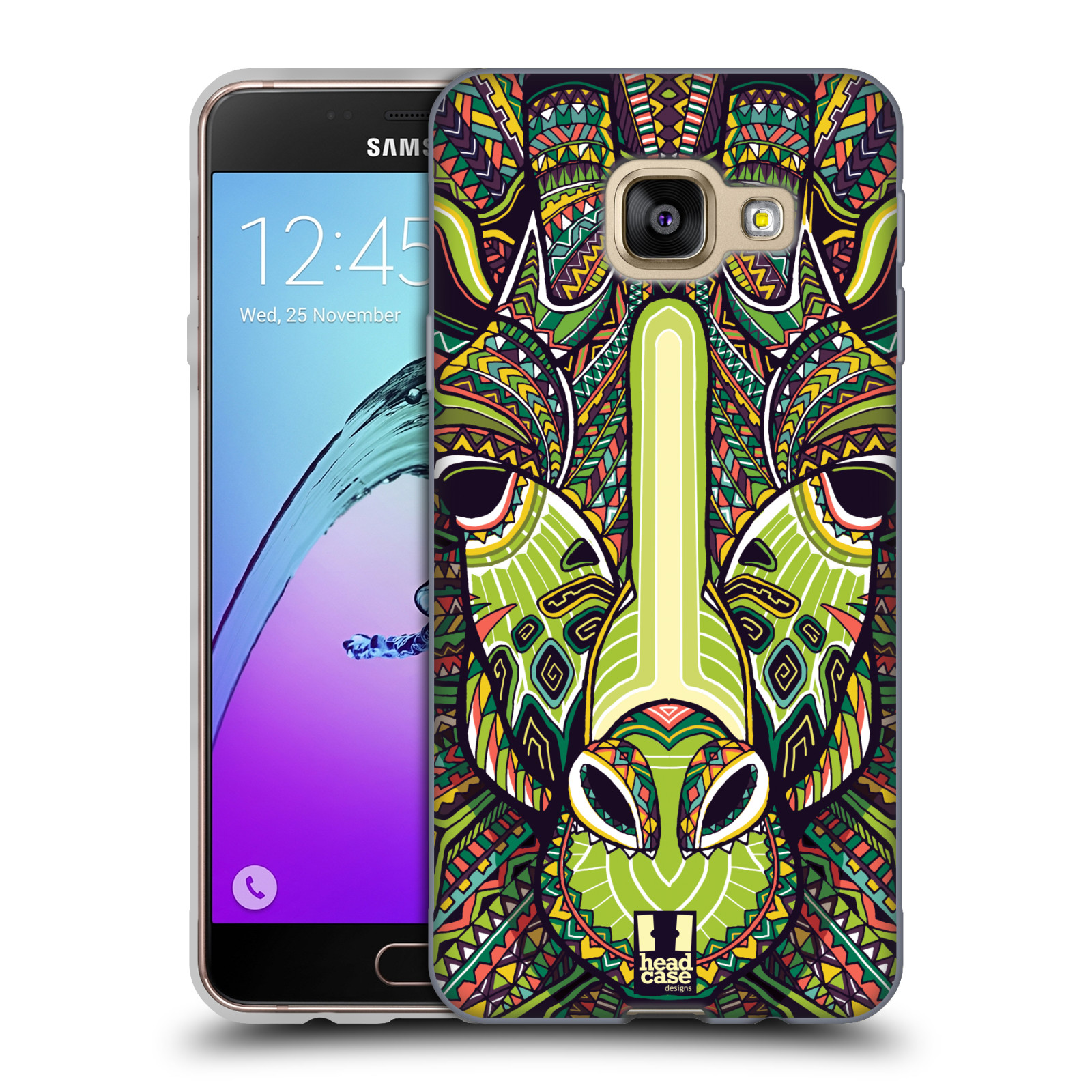 Silikonové pouzdro na mobil Samsung Galaxy A3 (2016) HEAD CASE AZTEC ŽIRAFA
