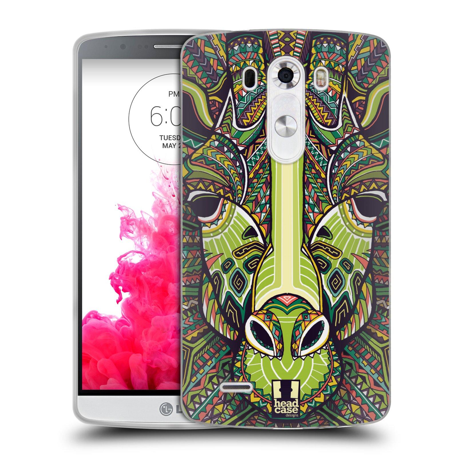 Silikonové pouzdro na mobil LG G3 HEAD CASE AZTEC ŽIRAFA (Silikonový kryt či obal na mobilní telefon LG G3 D855)