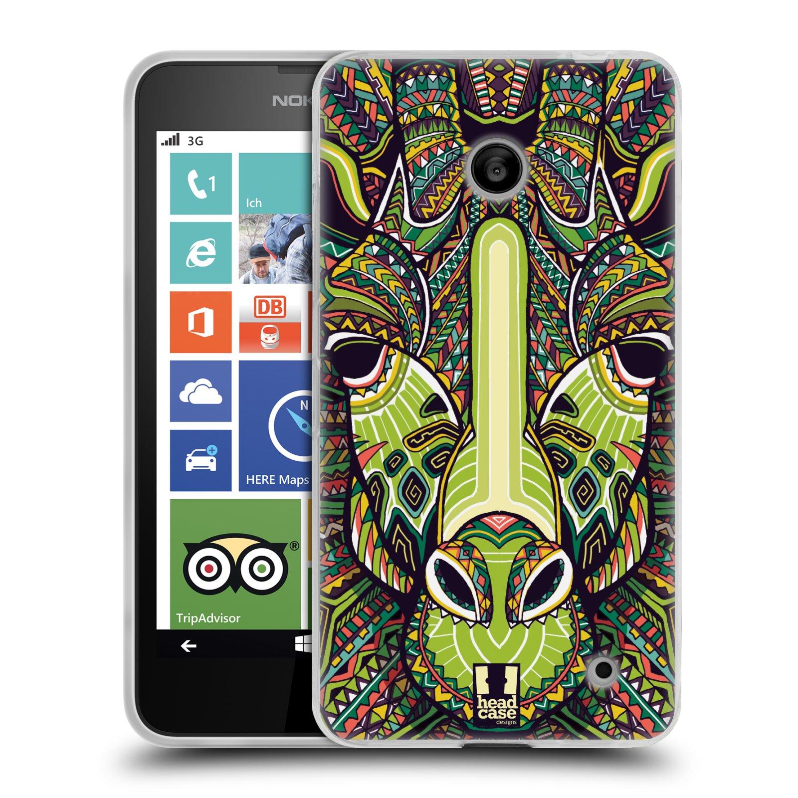 Silikonové pouzdro na mobil Nokia Lumia 630 HEAD CASE AZTEC ŽIRAFA (Silikonový kryt či obal na mobilní telefon Nokia Lumia 630 a Nokia Lumia 630 Dual SIM)