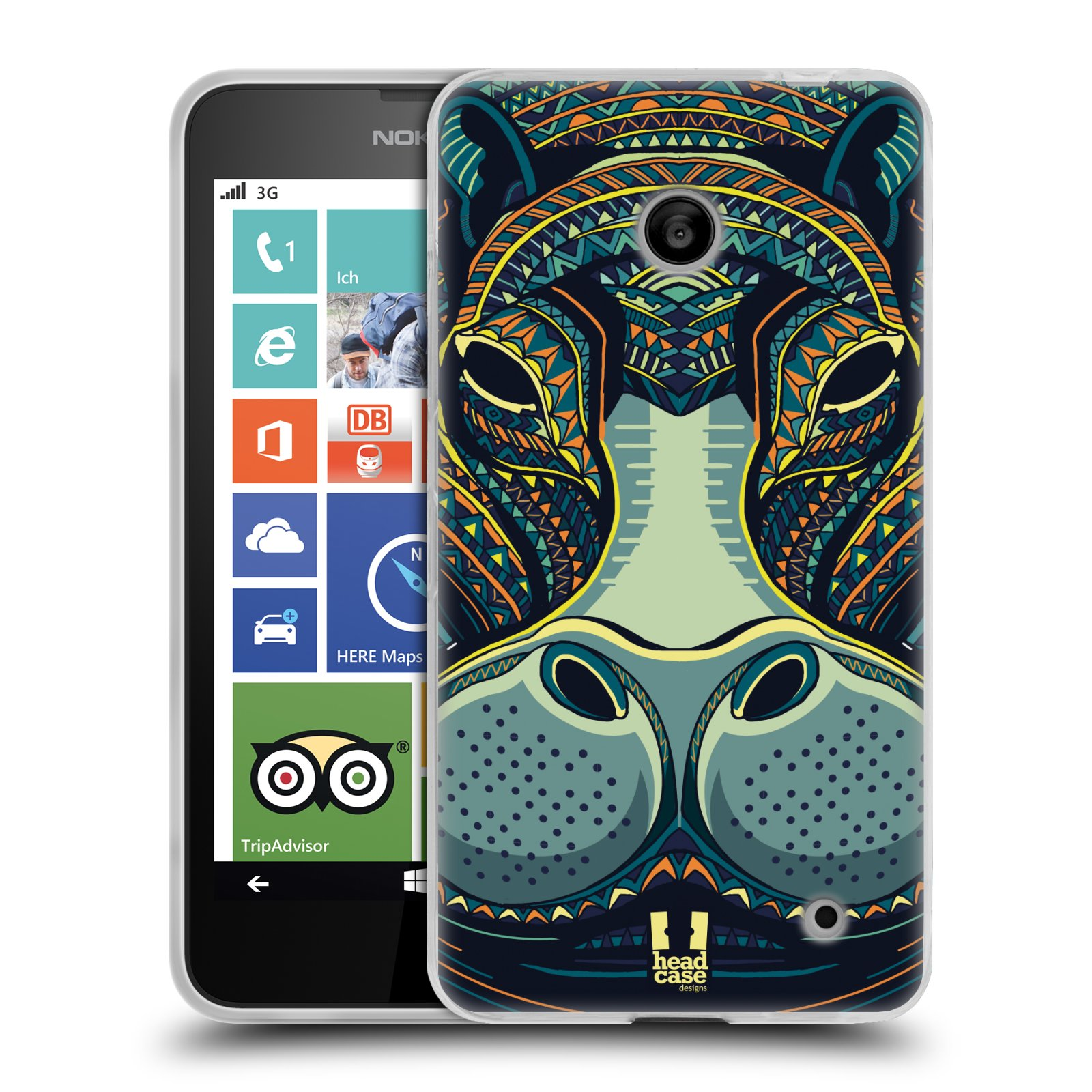 Silikonové pouzdro na mobil Nokia Lumia 630 HEAD CASE AZTEC HROCH (Silikonový kryt či obal na mobilní telefon Nokia Lumia 630 a Nokia Lumia 630 Dual SIM)