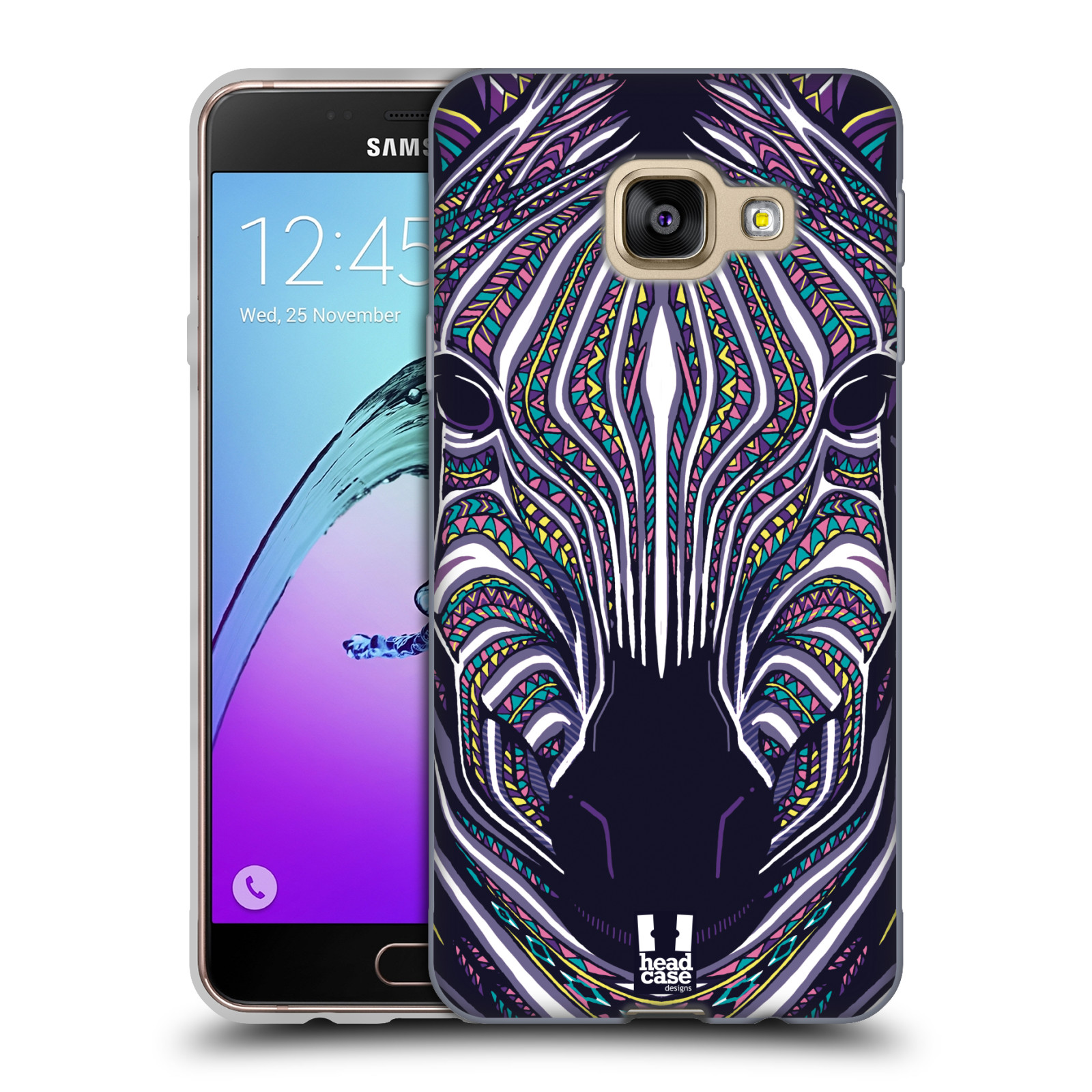 Silikonové pouzdro na mobil Samsung Galaxy A3 (2016) HEAD CASE AZTEC ZEBRA