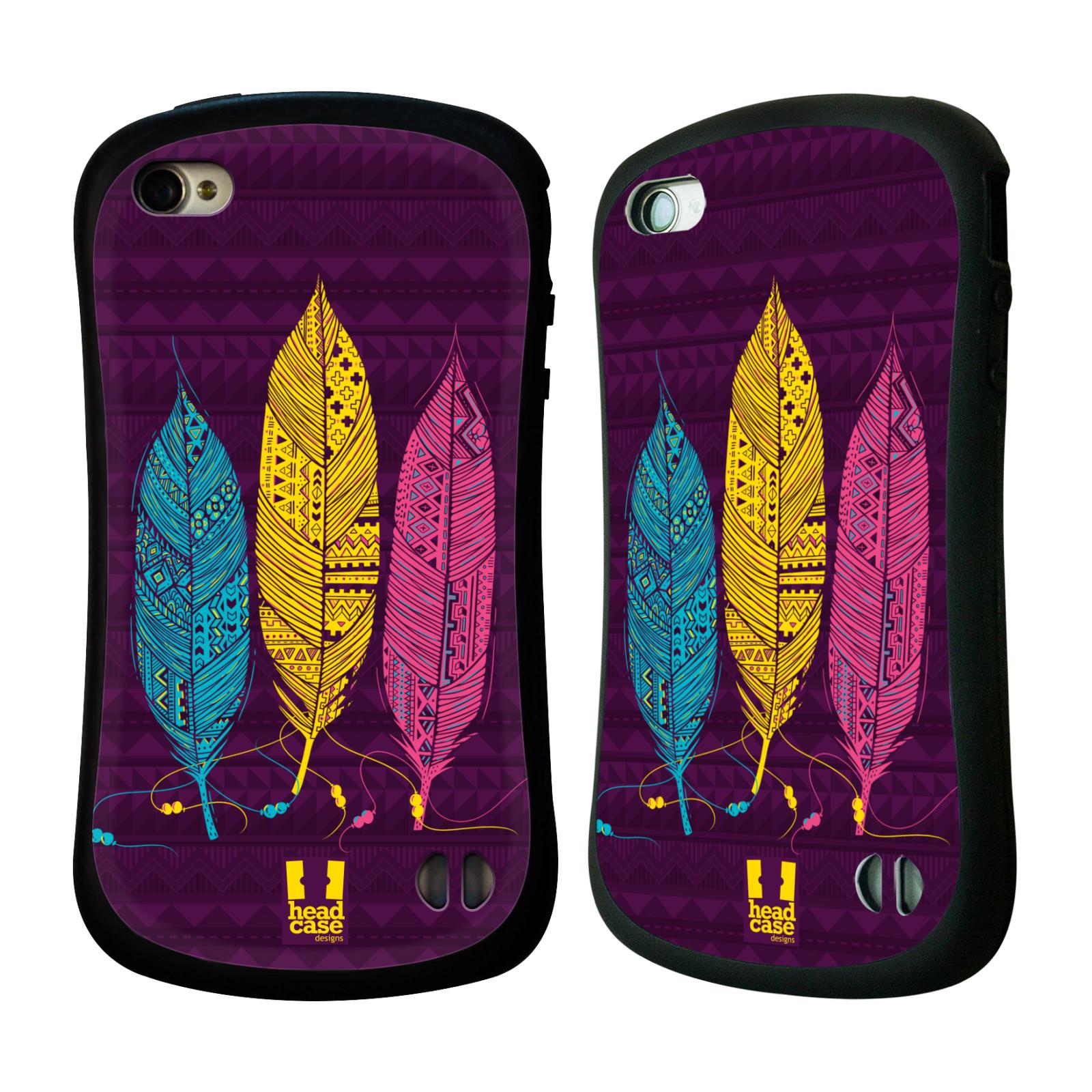 Nárazuvzdorné pouzdro na mobil Apple iPhone 4 a 4S HEAD CASE AZTEC PÍRKA 3 BAREV (Odolný nárazuvzdorný silikonový kryt či obal na mobilní telefon Apple iPhone 4 a 4S)