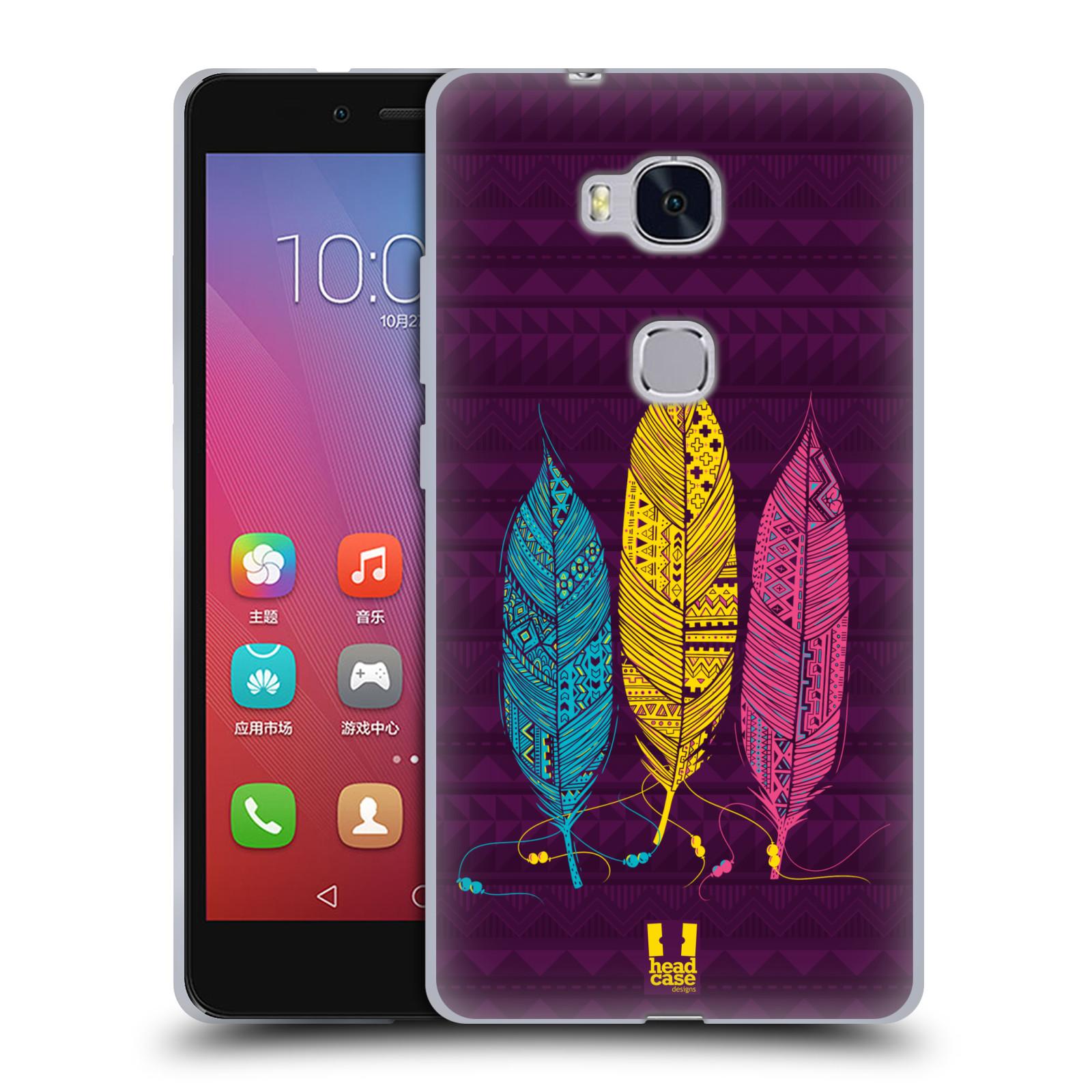 Silikonové pouzdro na mobil Honor 5X HEAD CASE AZTEC PÍRKA 3 BAREV (Silikonový kryt či obal na mobilní telefon Huawei Honor 5X)
