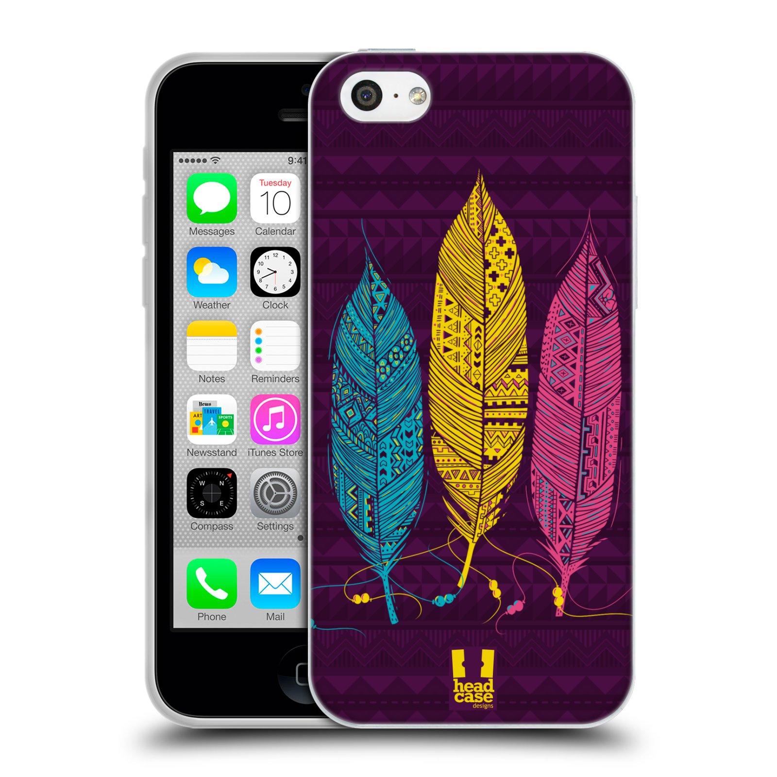 Silikonové pouzdro na mobil Apple iPhone 5C HEAD CASE AZTEC PÍRKA 3 BAREV (Silikonový kryt či obal na mobilní telefon Apple iPhone 5C)
