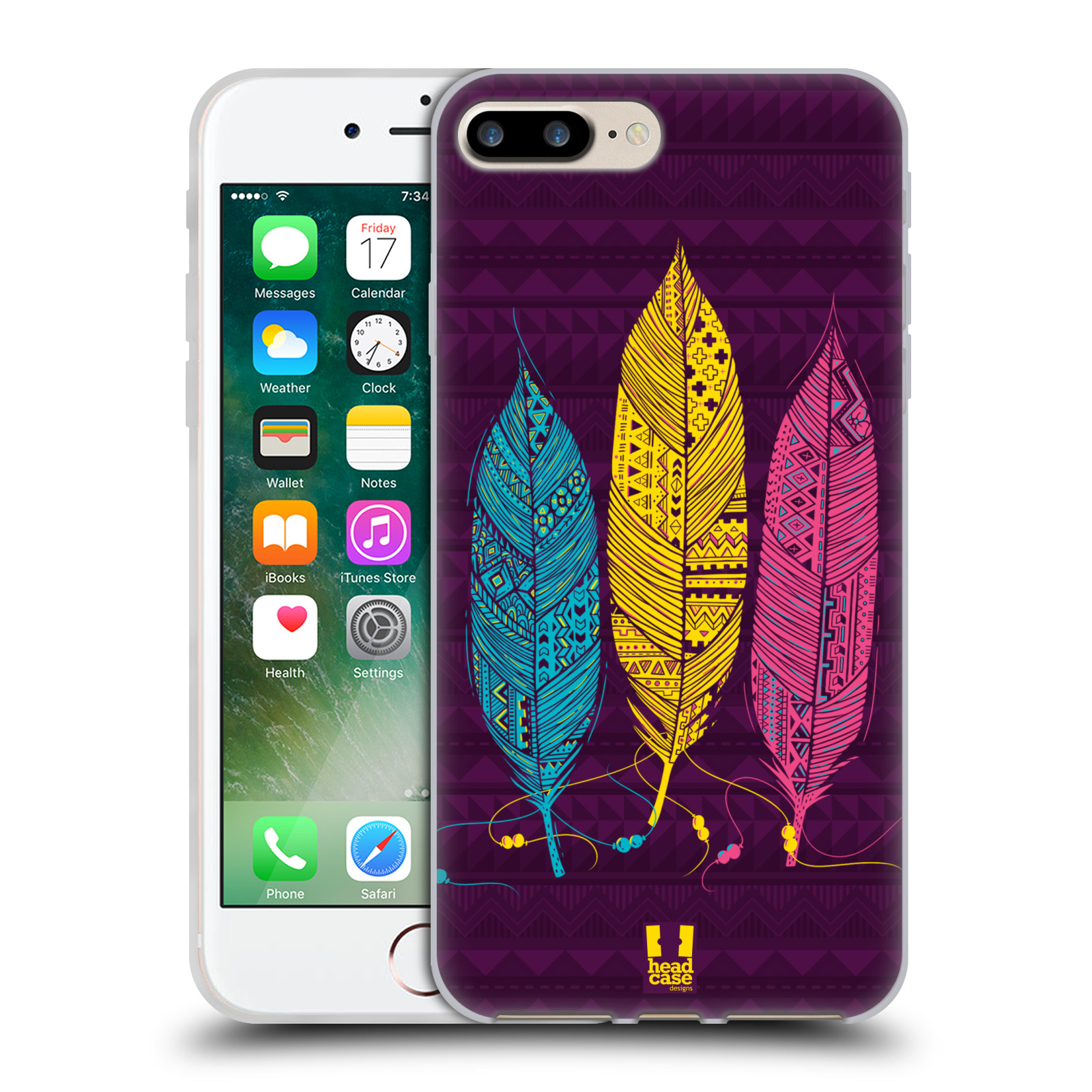 Silikonové pouzdro na mobil Apple iPhone 7 Plus HEAD CASE AZTEC PÍRKA 3 BAREV (Silikonový kryt či obal na mobilní telefon Apple iPhone 7 Plus)