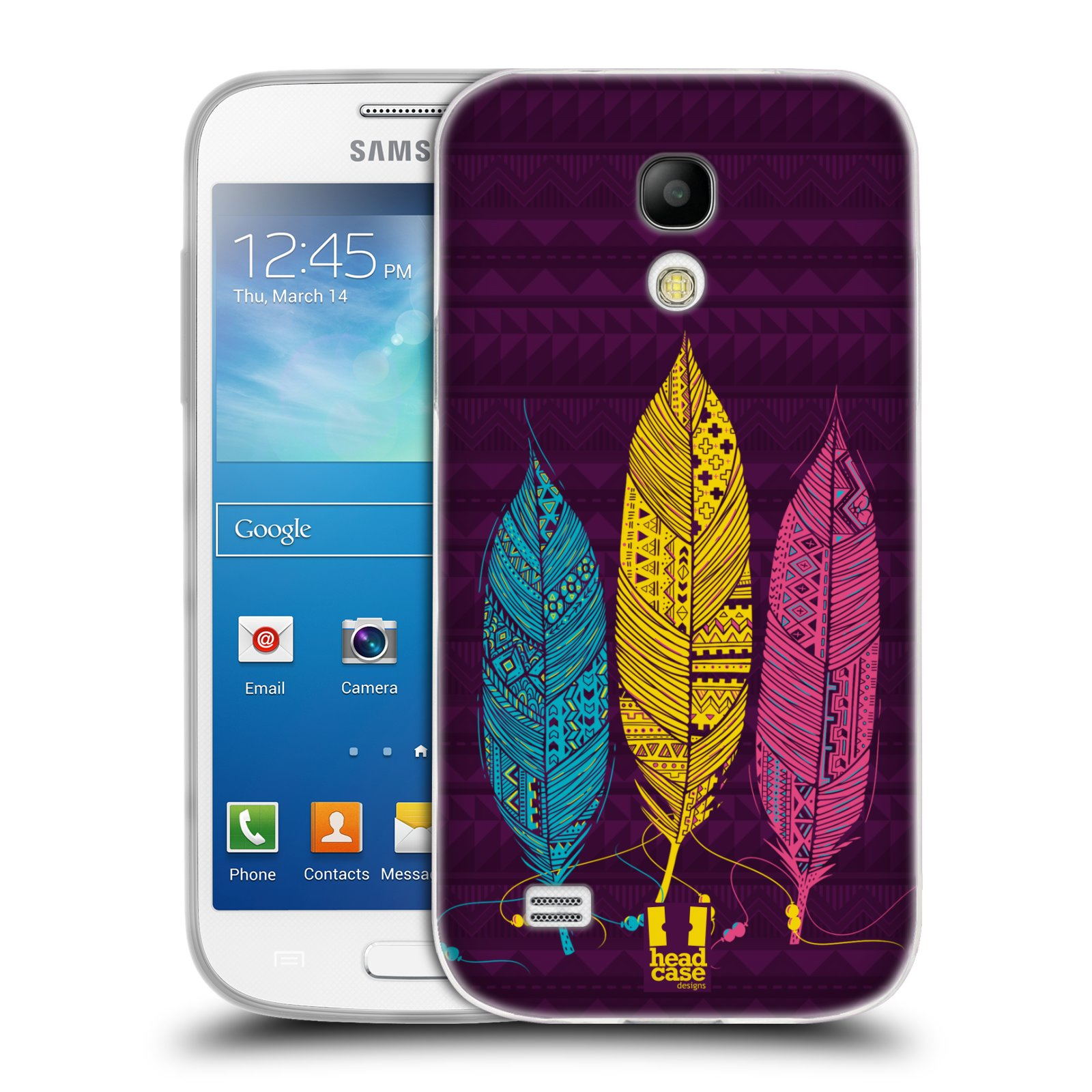Silikonové pouzdro na mobil Samsung Galaxy S4 Mini HEAD CASE AZTEC PÍRKA 3 BAREV (Silikonový kryt či obal na mobilní telefon Samsung Galaxy S4 Mini GT-i9195 / i9190 (nepasuje na verzi Black Edition))