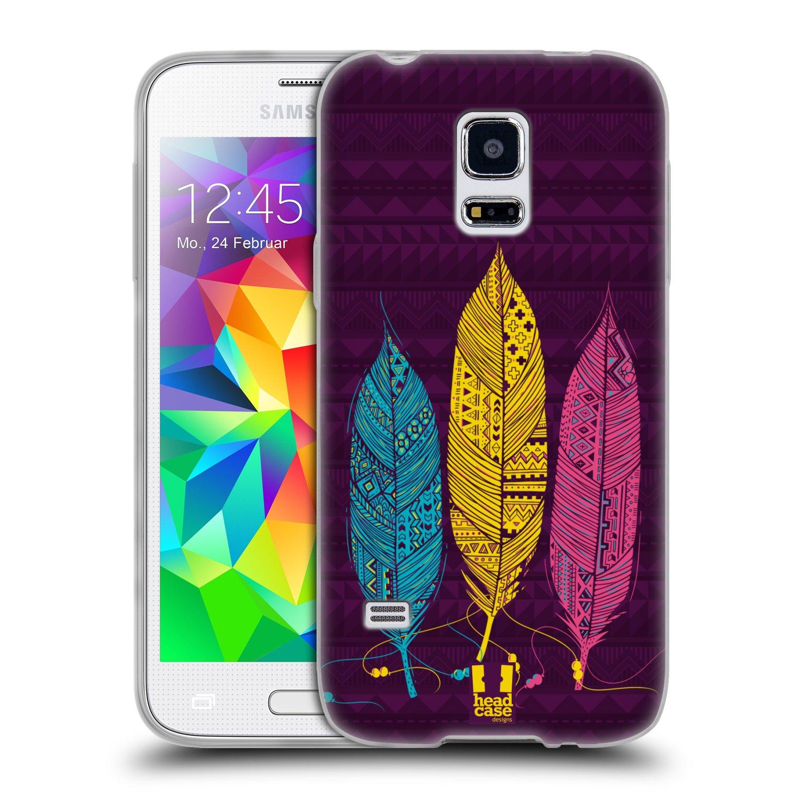 Silikonové pouzdro na mobil Samsung Galaxy S5 Mini HEAD CASE AZTEC PÍRKA 3 BAREV (Silikonový kryt či obal na mobilní telefon Samsung Galaxy S5 Mini SM-G800F)