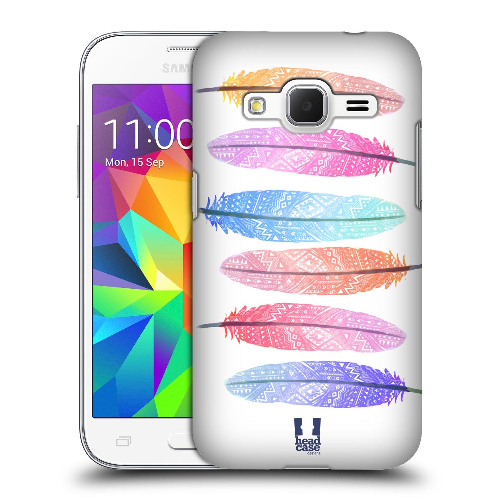 Plastové pouzdro na mobil Samsung Galaxy Core Prime LTE HEAD CASE AZTEC PÍRKA SILUETY