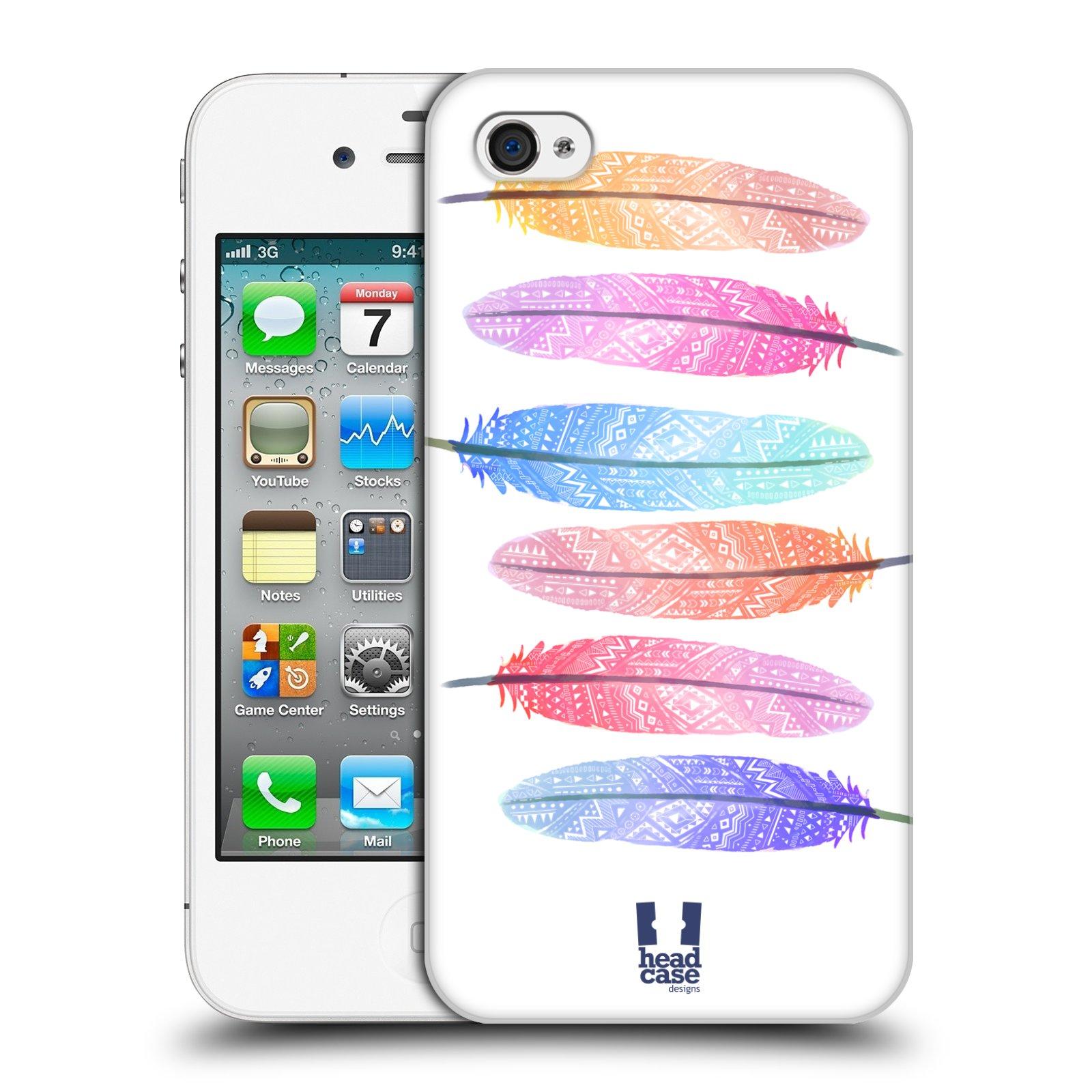 Plastové pouzdro na mobil Apple iPhone 4 a 4S HEAD CASE AZTEC PÍRKA SILUETY