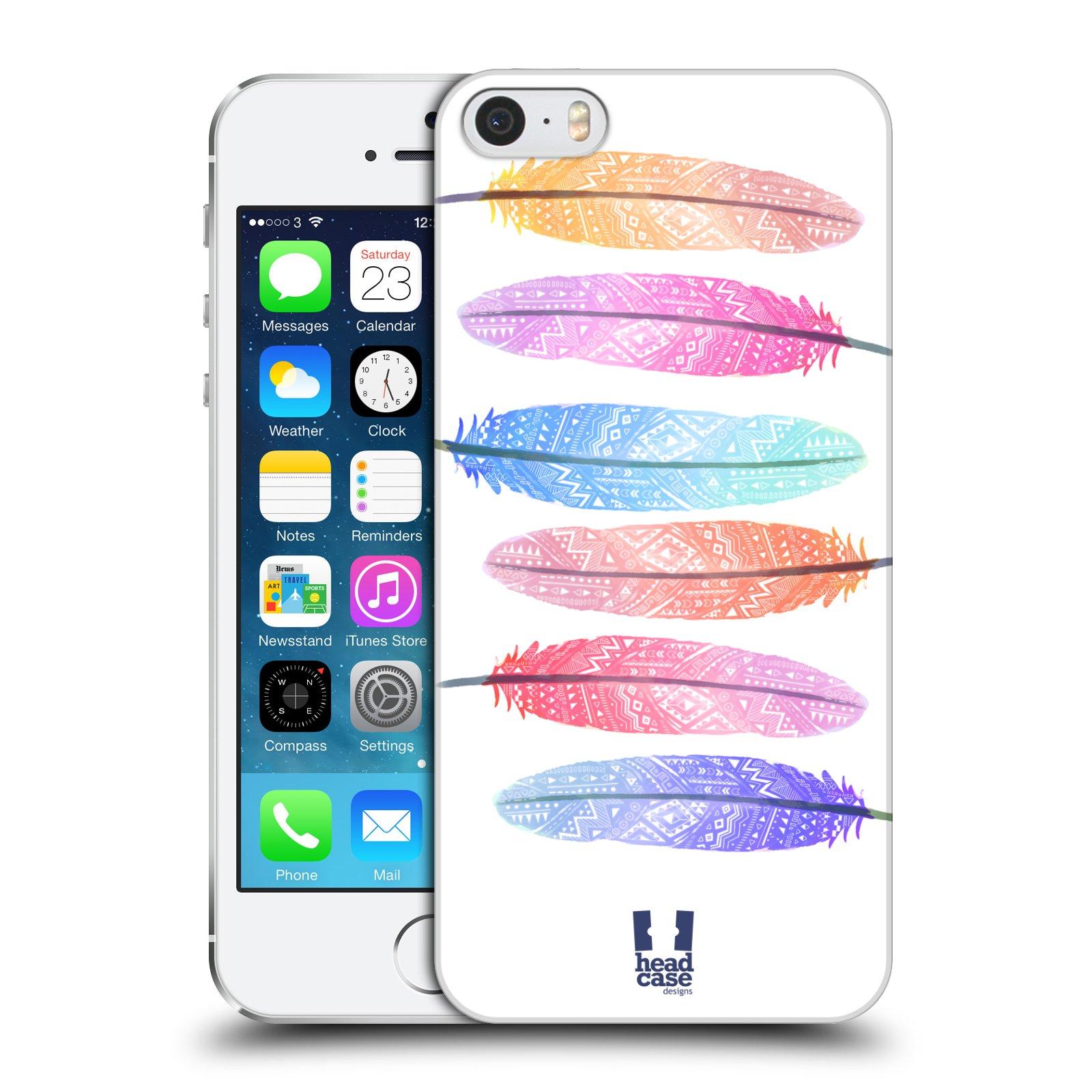 Plastové pouzdro na mobil Apple iPhone SE, 5 a 5S HEAD CASE AZTEC PÍRKA SILUETY