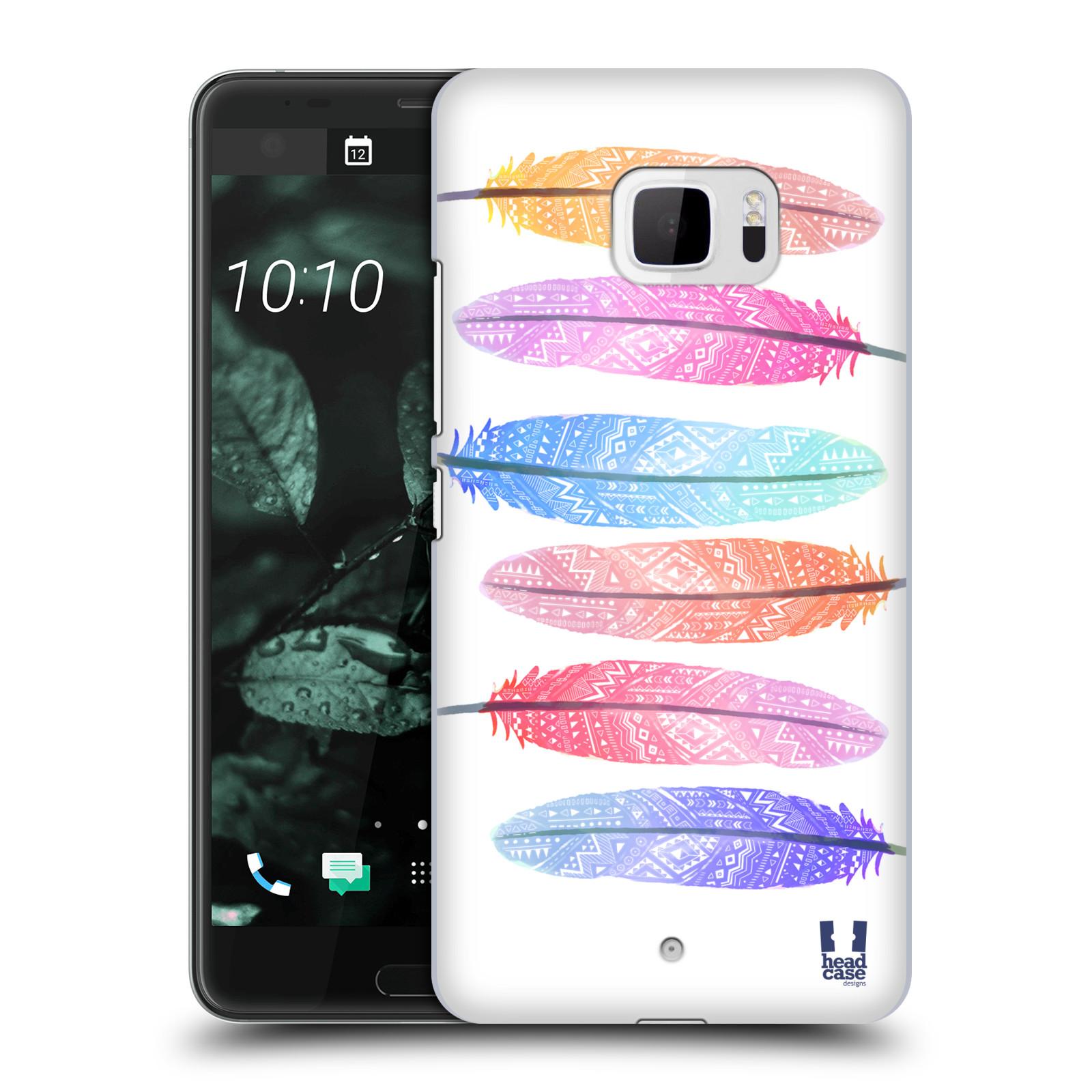 Plastové pouzdro na mobil HTC U Ultra Head Case - AZTEC PÍRKA SILUETY (Plastový kryt či obal na mobilní telefon HTC U Ultra (99HALT015-00))