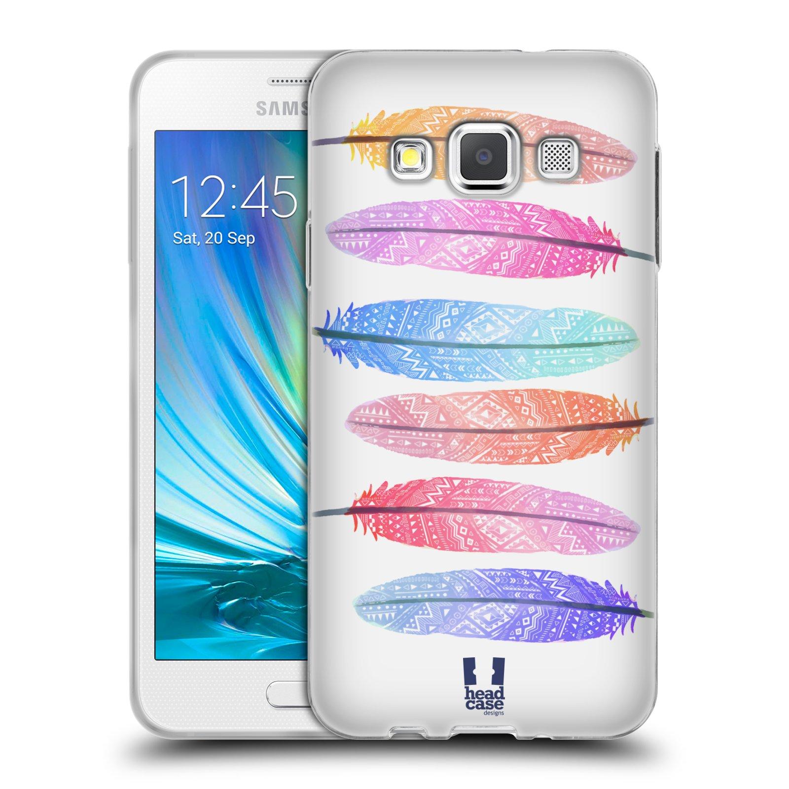 Silikonové pouzdro na mobil Samsung Galaxy A3 HEAD CASE AZTEC PÍRKA SILUETY