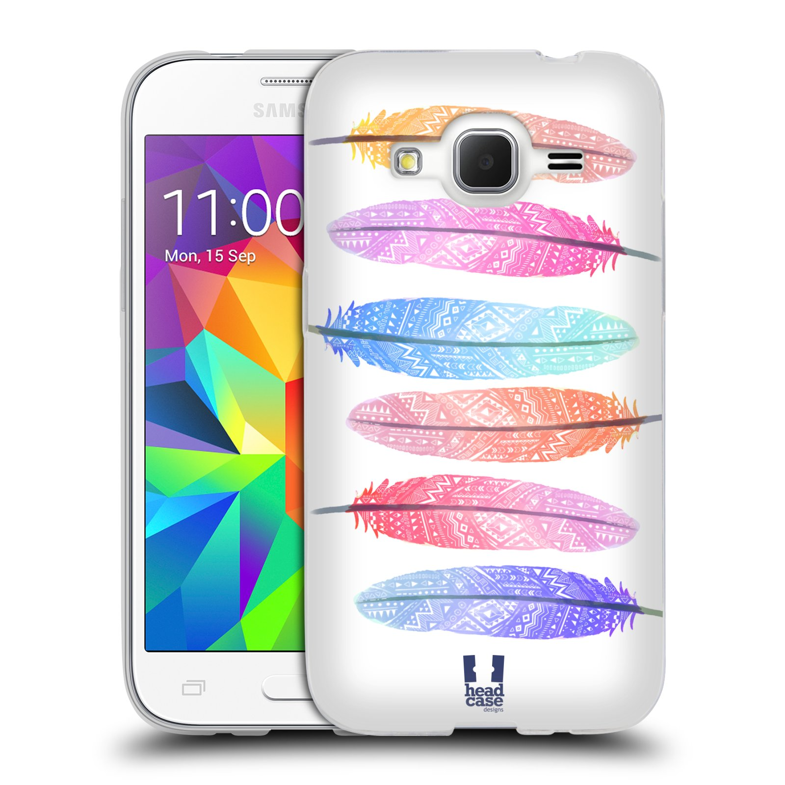 Silikonové pouzdro na mobil Samsung Galaxy Core Prime LTE HEAD CASE AZTEC PÍRKA SILUETY
