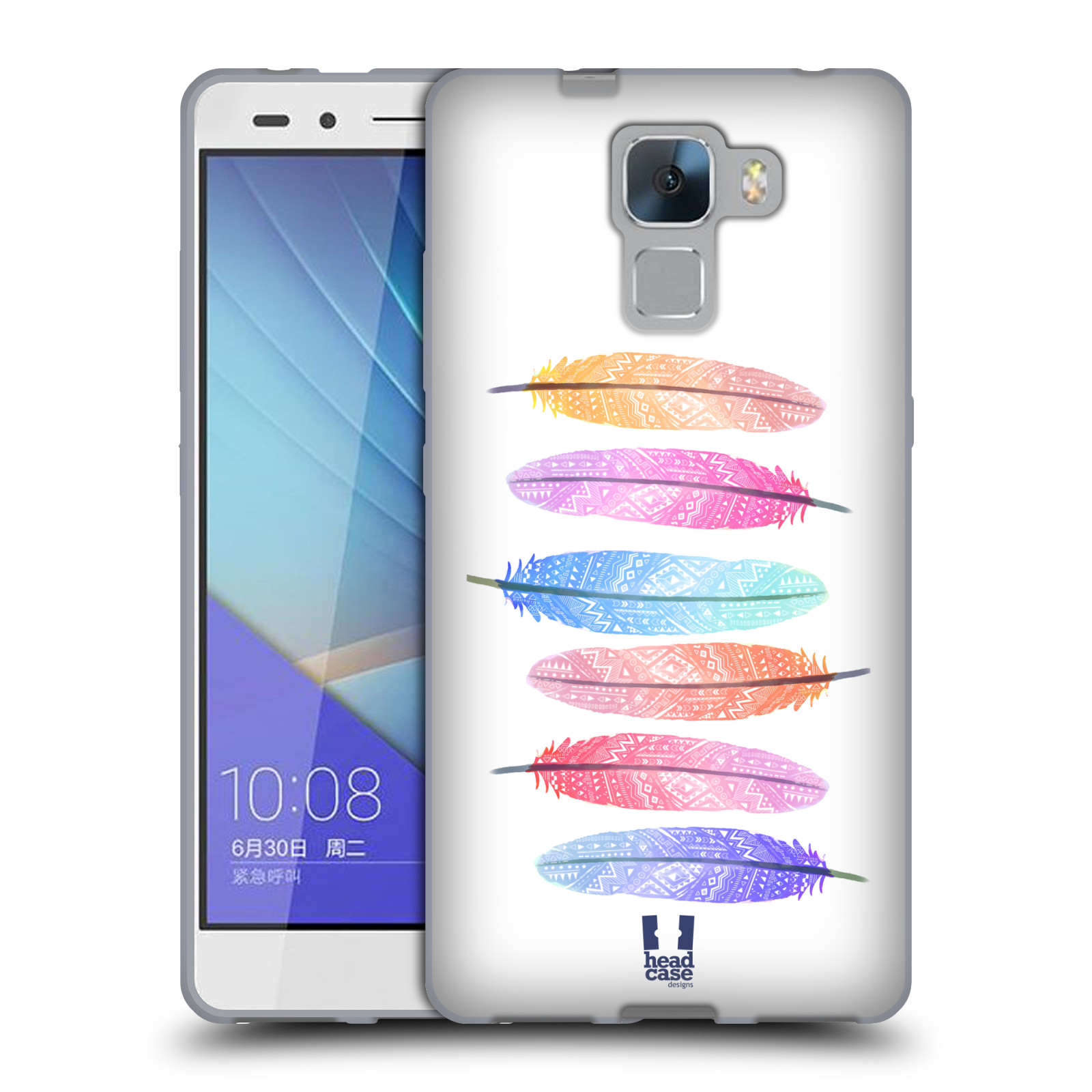 Silikonové pouzdro na mobil Honor 7 HEAD CASE AZTEC PÍRKA SILUETY