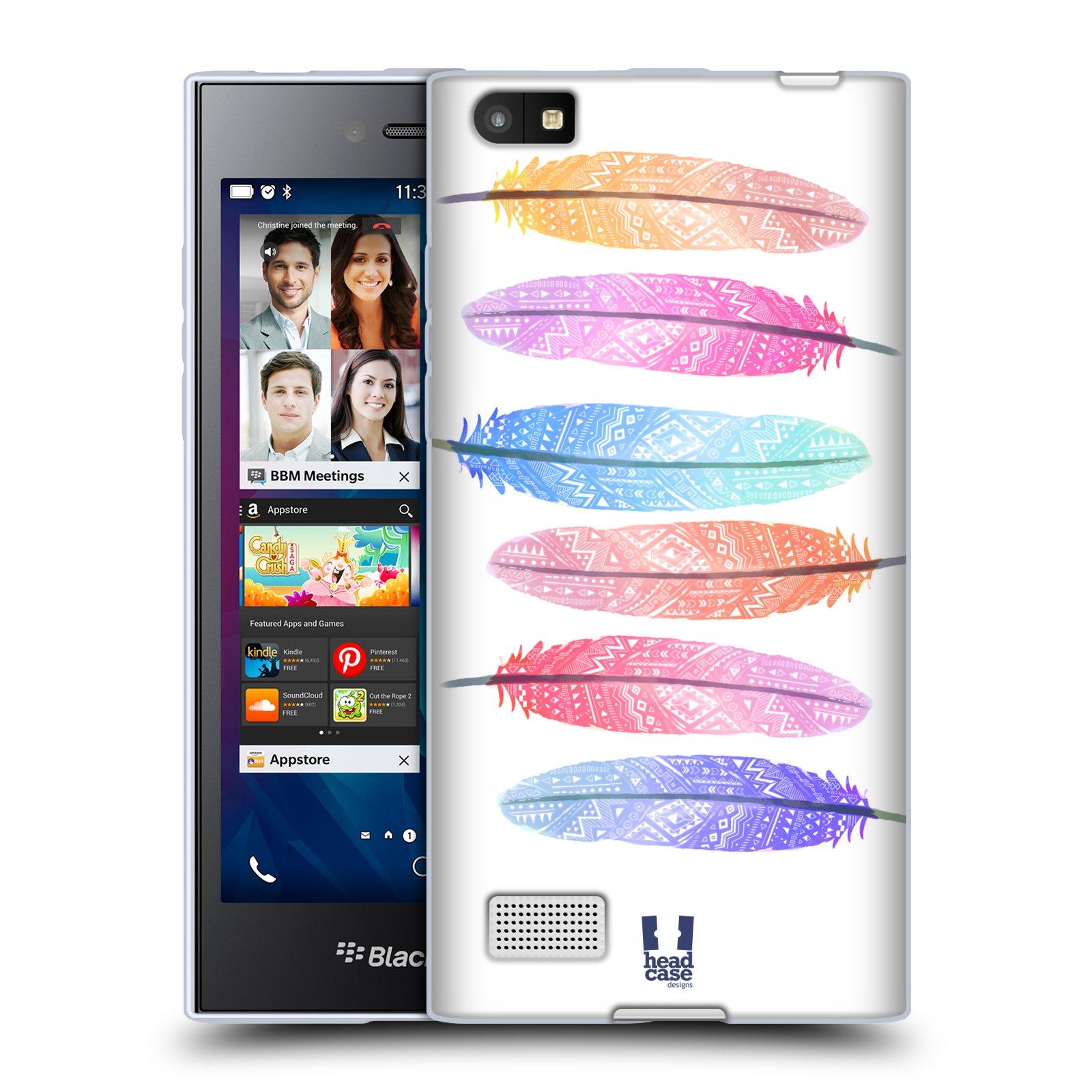 Silikonové pouzdro na mobil Blackberry Leap HEAD CASE AZTEC PÍRKA SILUETY