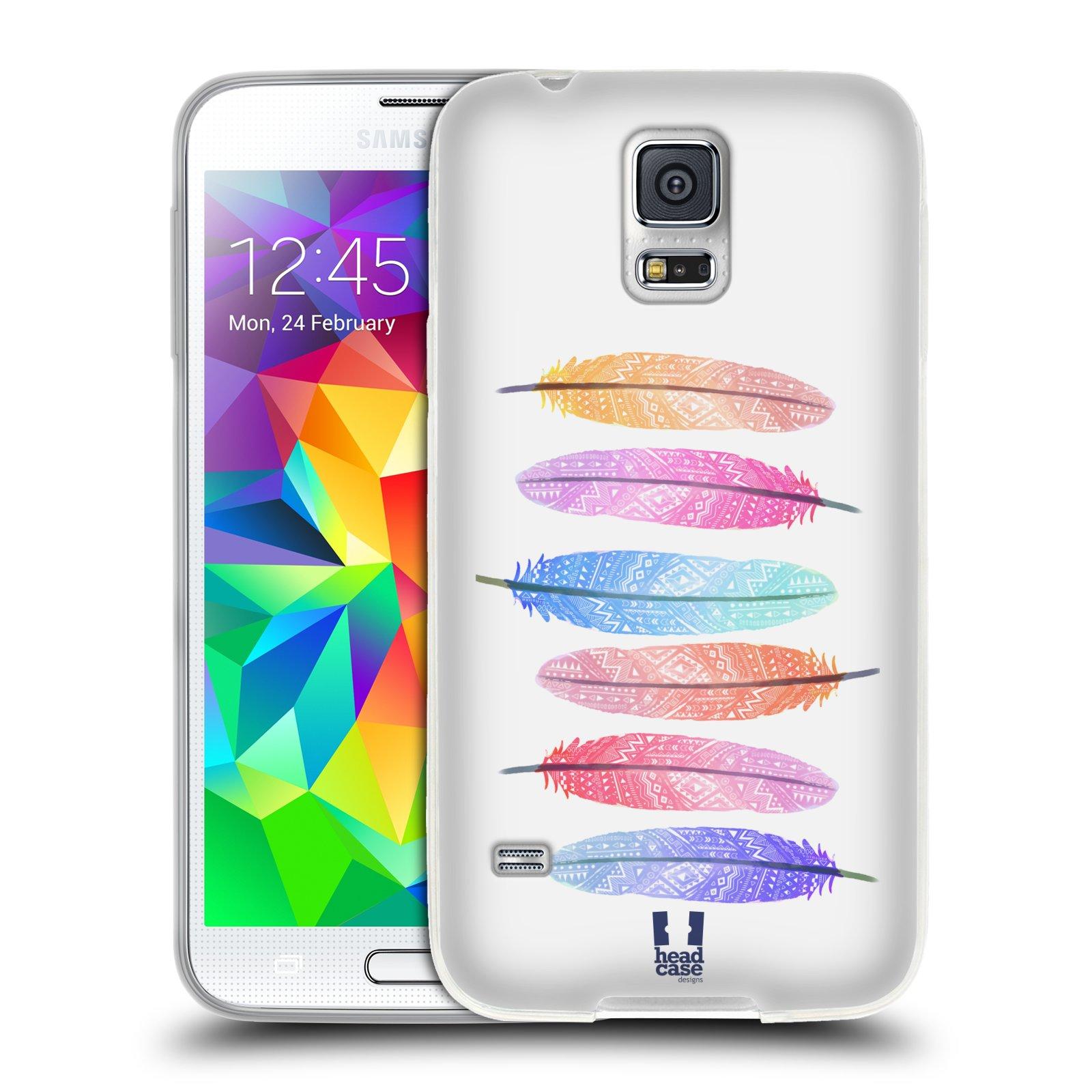 Silikonové pouzdro na mobil Samsung Galaxy S5 HEAD CASE AZTEC PÍRKA SILUETY