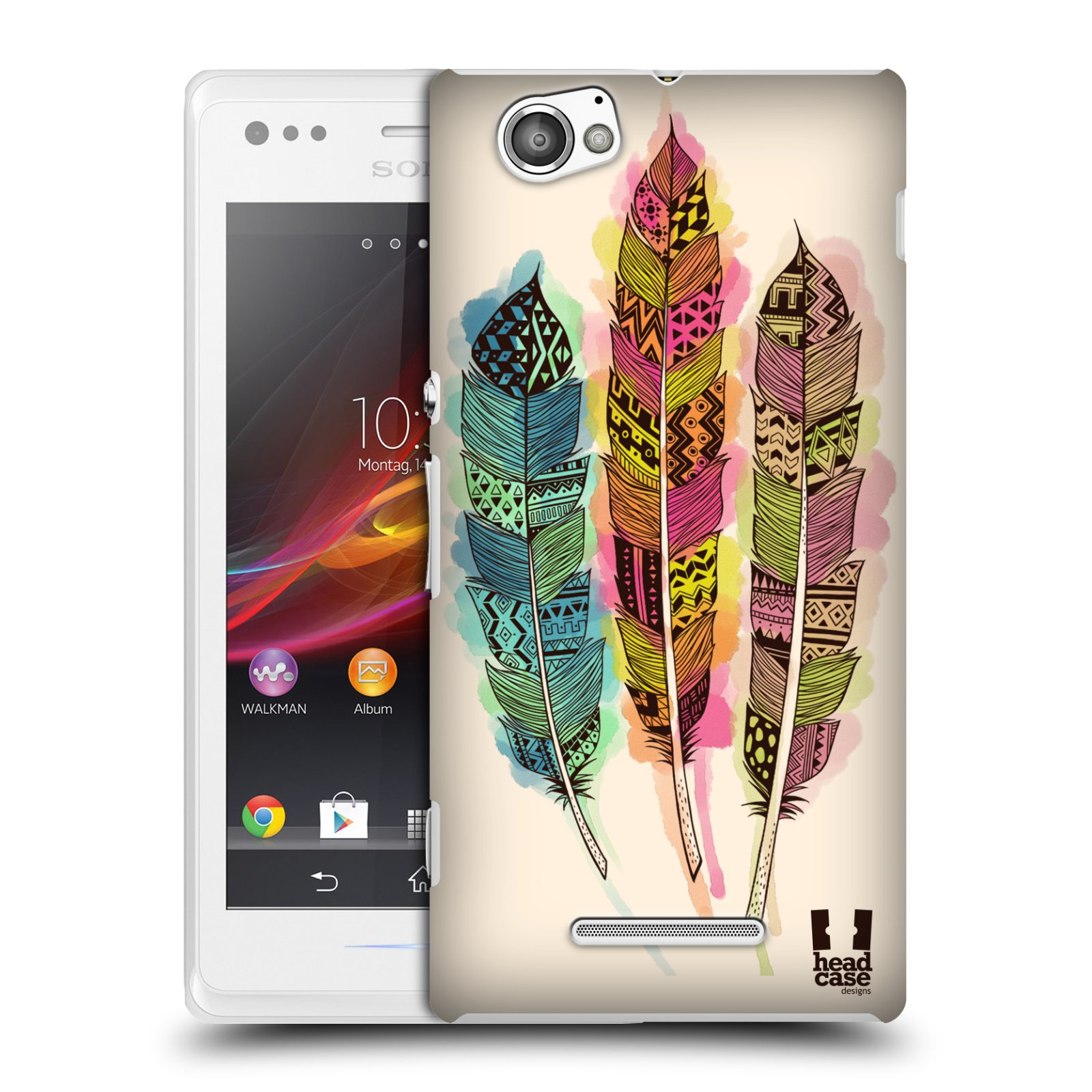 Plastové pouzdro na mobil Sony Xperia M C1905 HEAD CASE AZTEC PÍRKA SPLASH