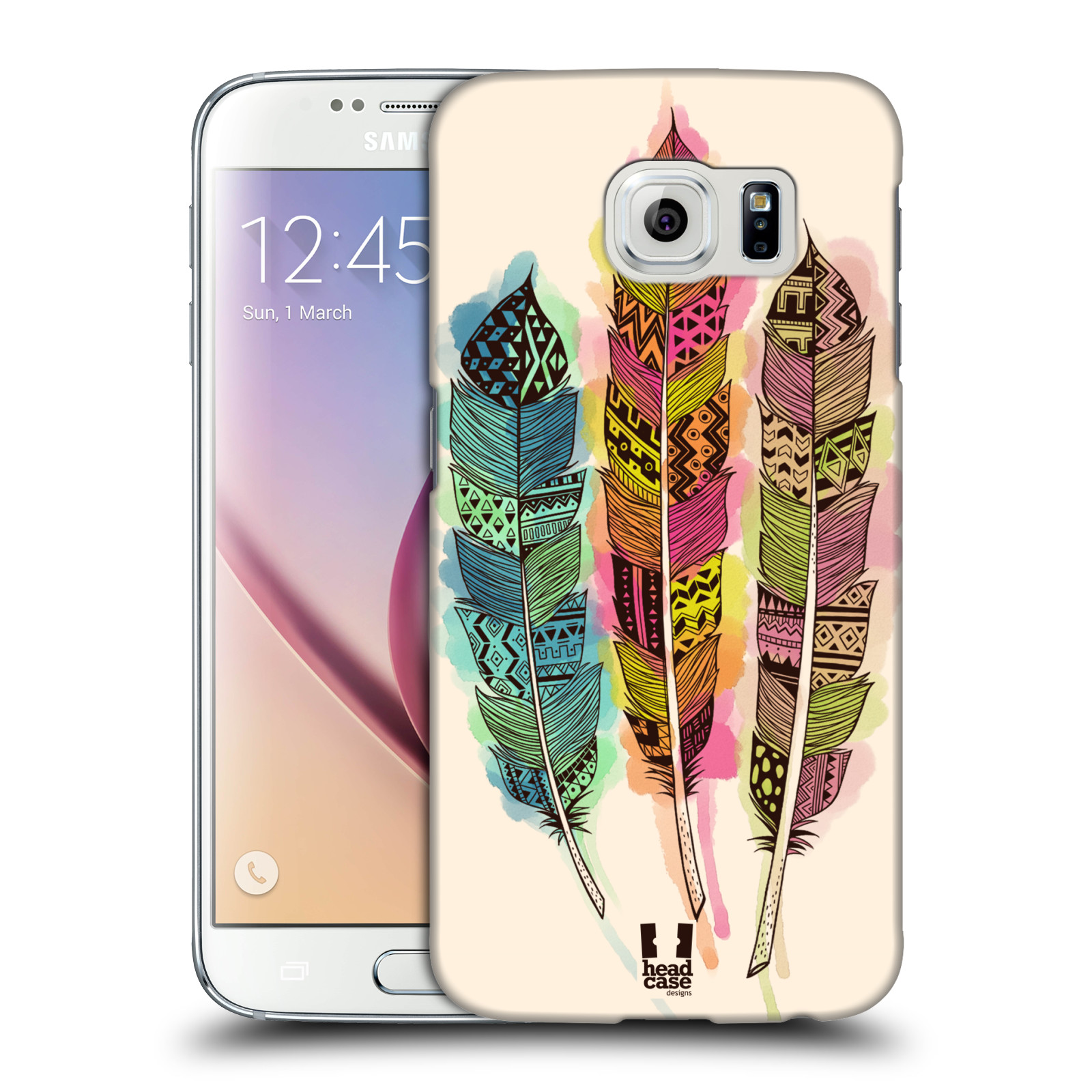 Plastové pouzdro na mobil Samsung Galaxy S6 HEAD CASE AZTEC PÍRKA SPLASH