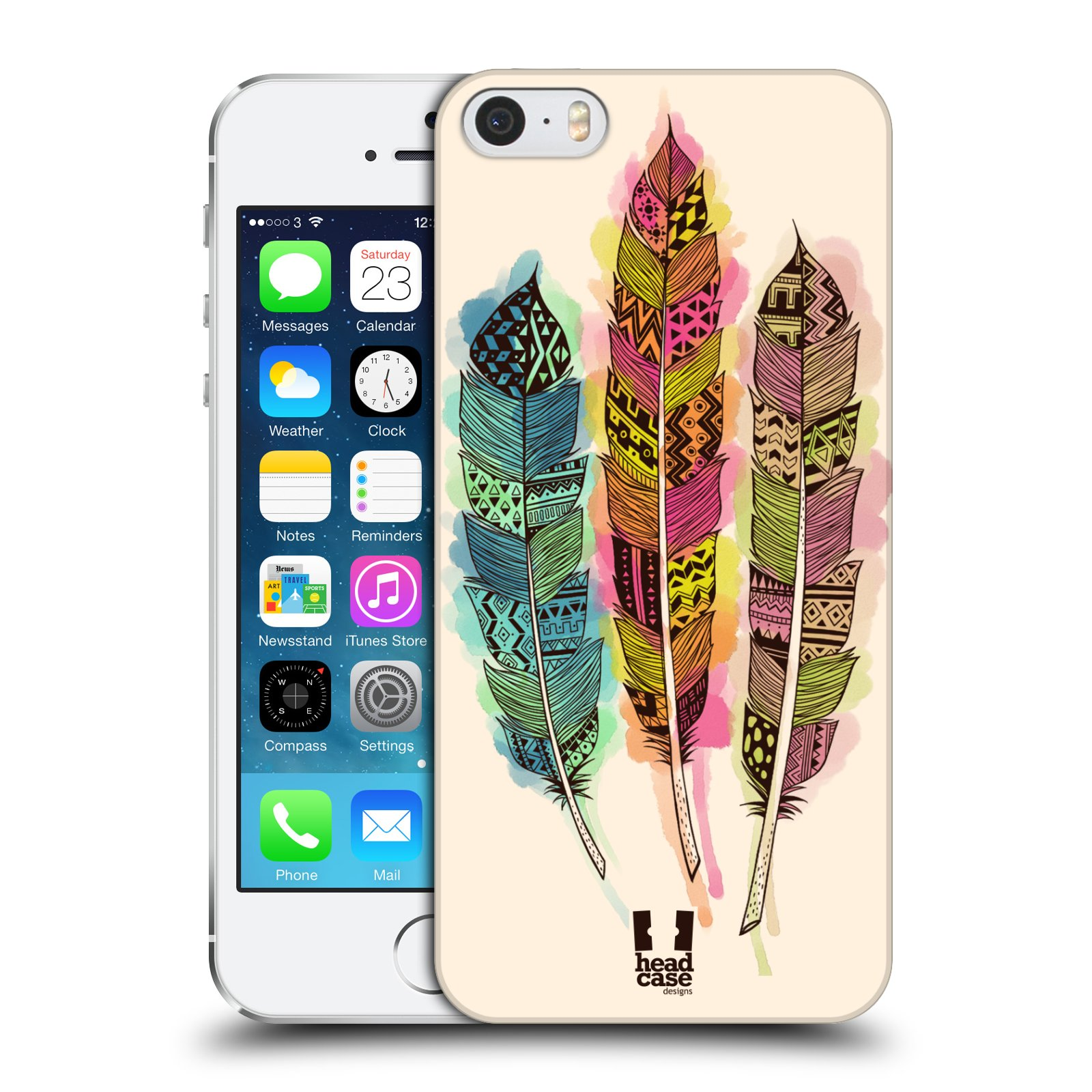 Plastové pouzdro na mobil Apple iPhone SE, 5 a 5S HEAD CASE AZTEC PÍRKA SPLASH